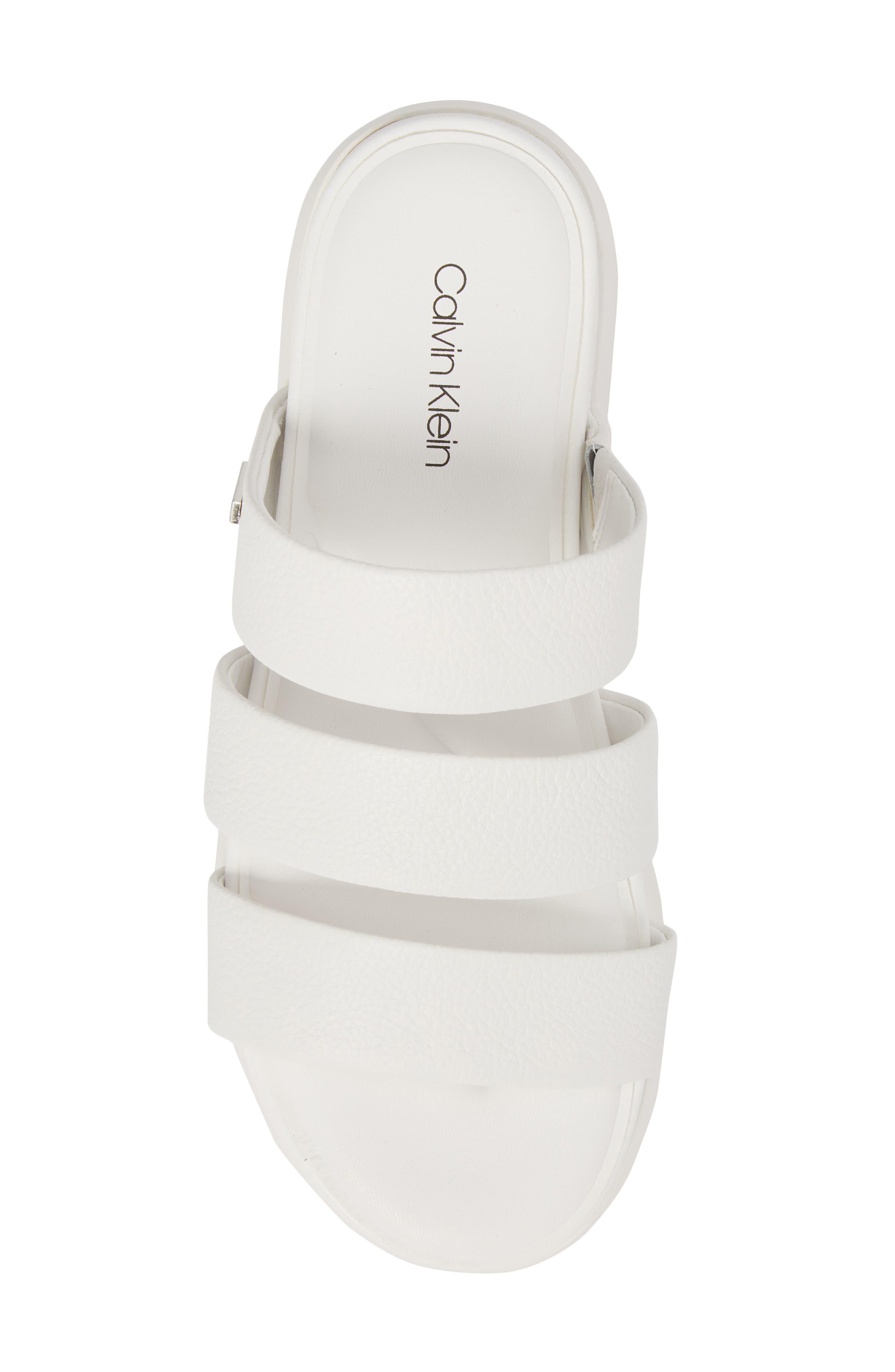 Dalana Slide Sandal,                             Alternate thumbnail 5, color,                             Platinum White Pebble Leather