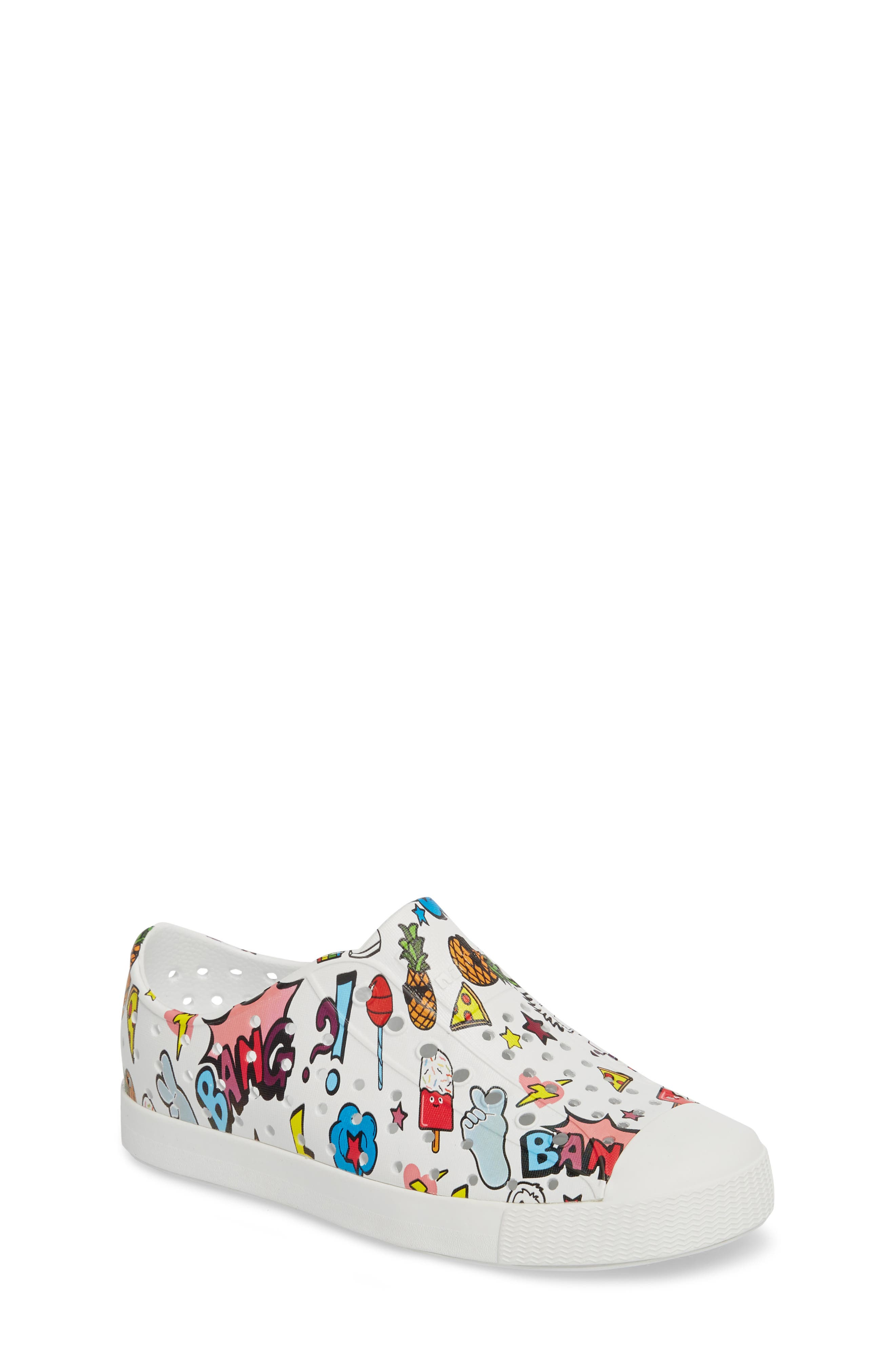 Jefferson Water Friendly Perforated Slip-On,                             Main thumbnail 1, color,                             Shell White/ Sticker