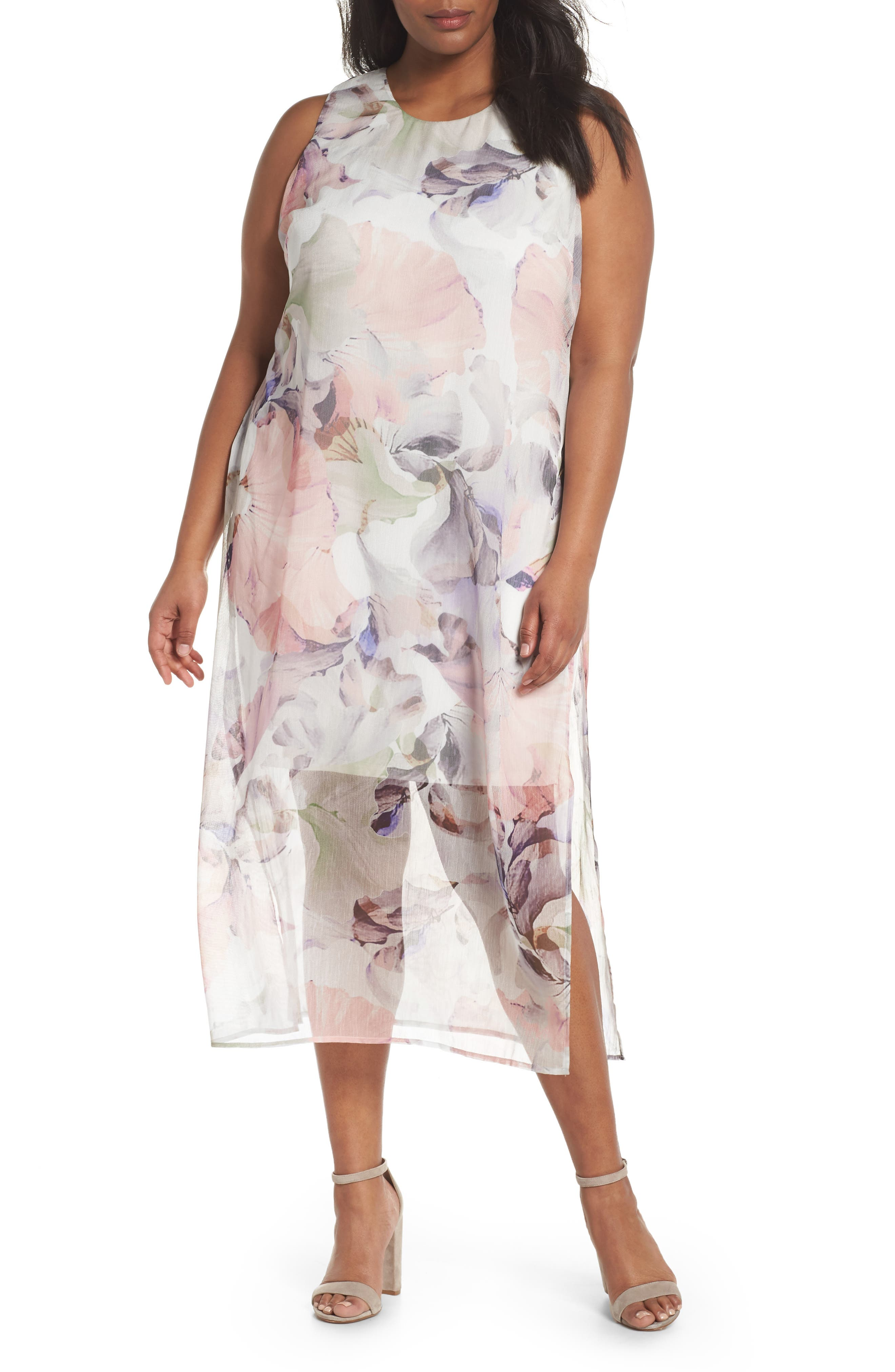 Diffused Blooms Overlay Midi Dress,                         Main,                         color, New Ivory