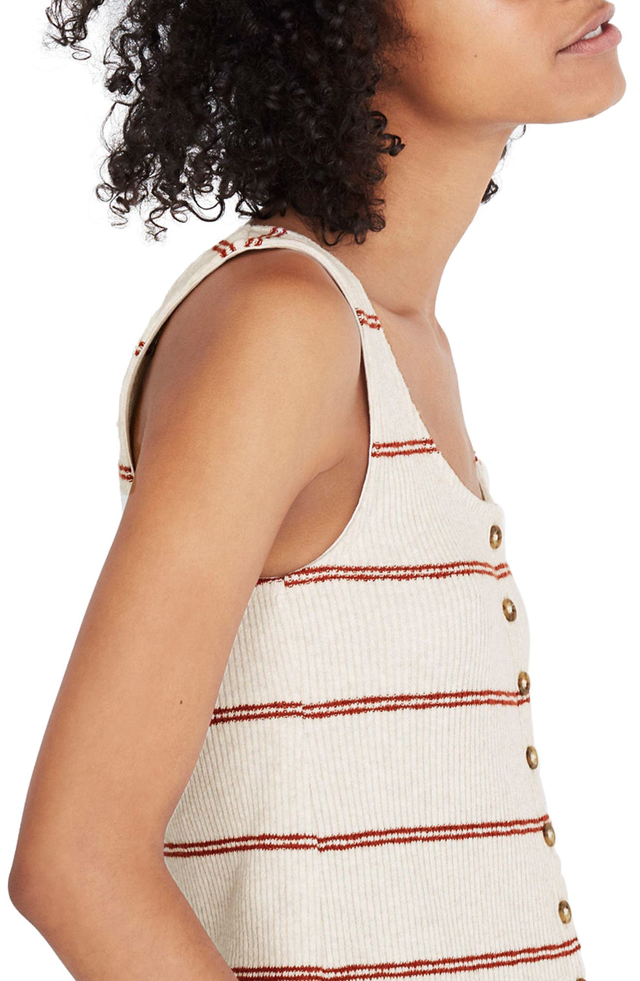 Stripe Ribbed Button Front Tank,                             Alternate thumbnail 3, color,                             Heather Muslin