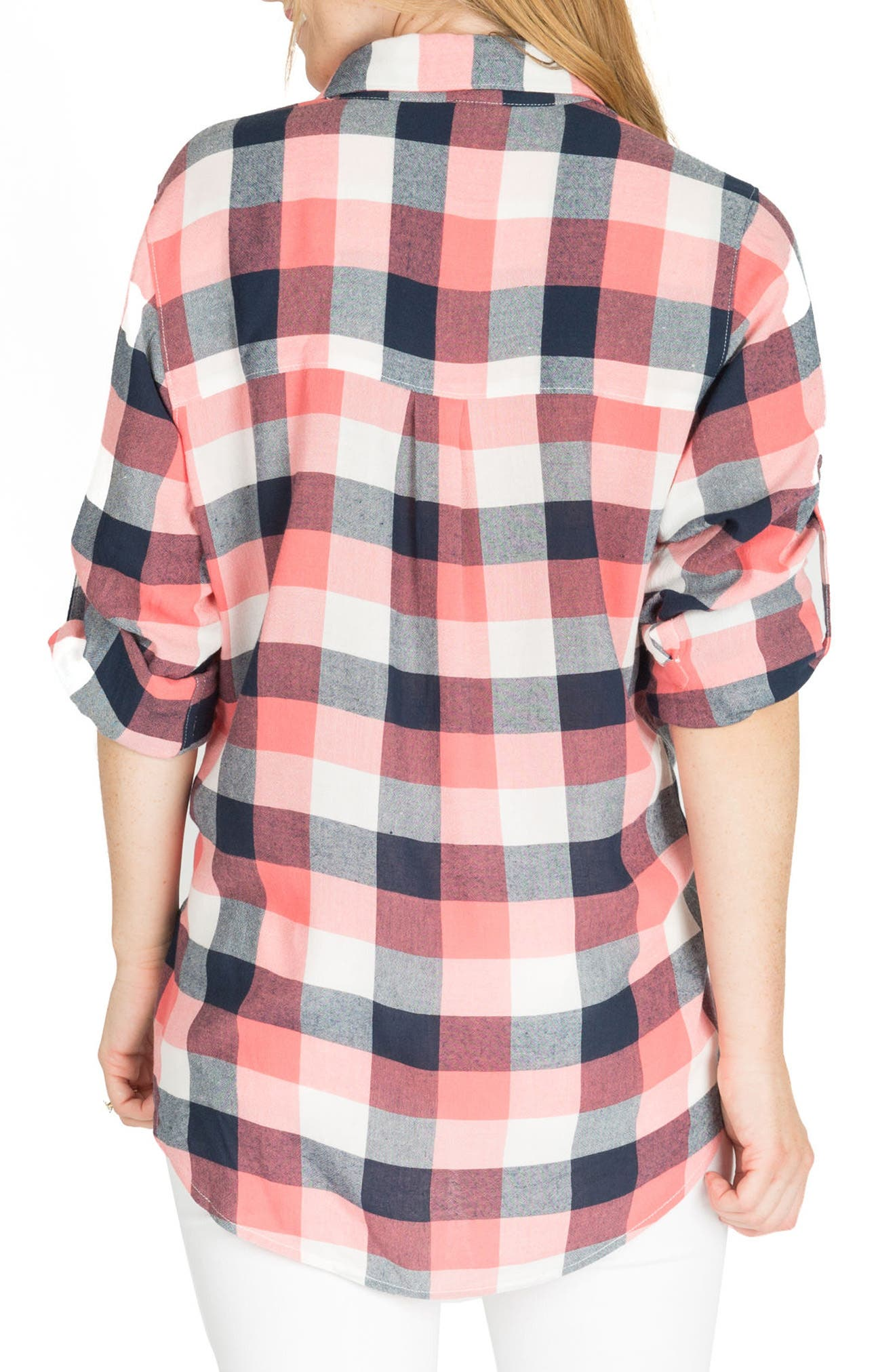 Sadie Maternity/Nursing Shirt,                             Alternate thumbnail 2, color,                             Pink Plaid