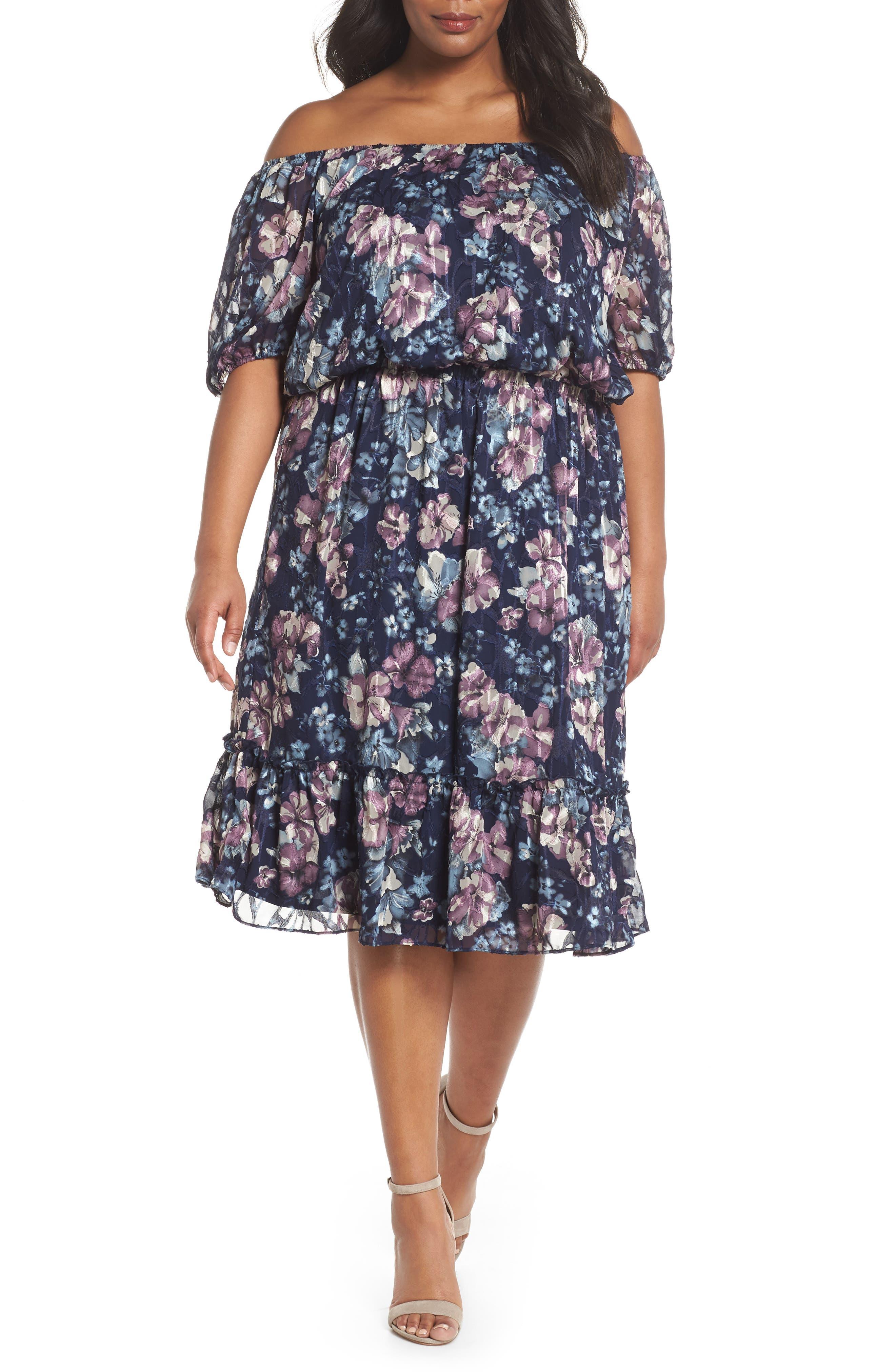 Floral Burnout Off the Shoulder Blouson Dress,                             Main thumbnail 1, color,                             Navy Multi