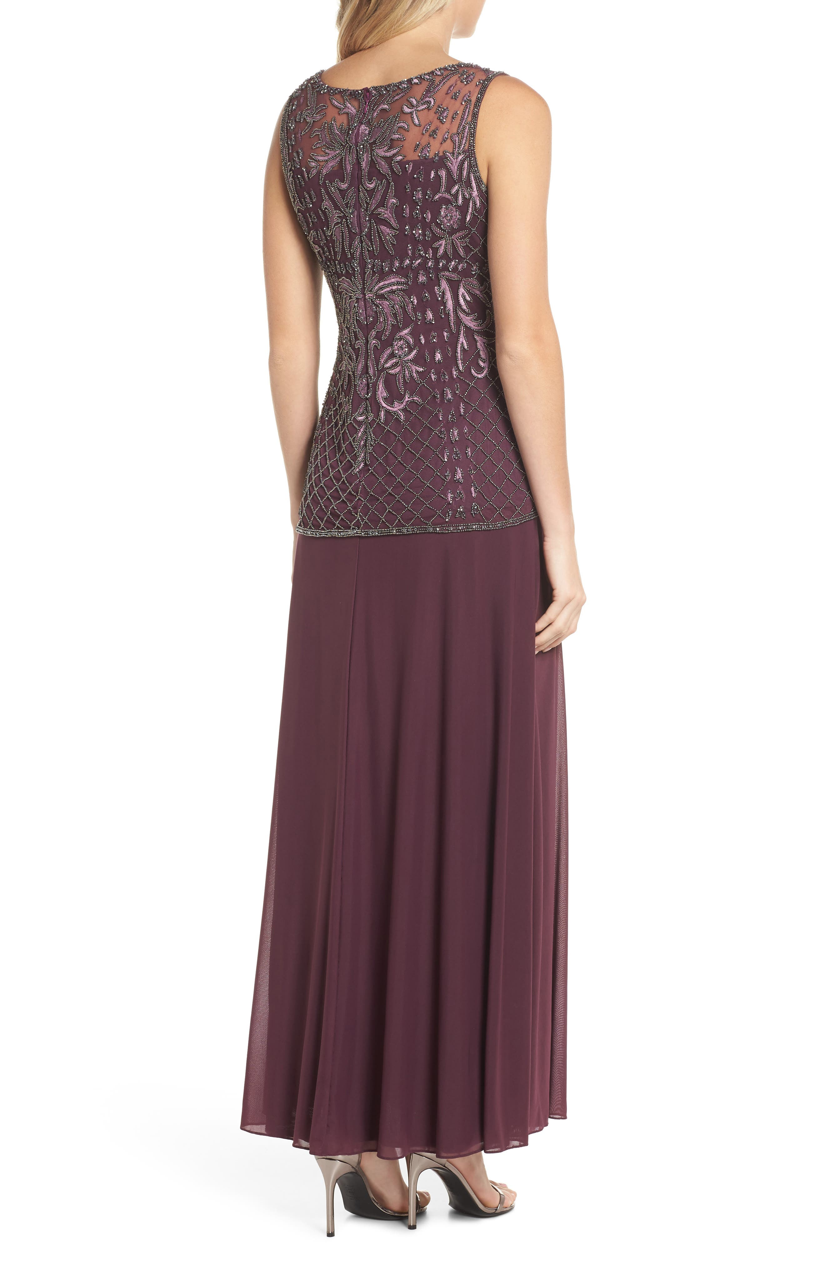 Beaded Bodice Mock Two-Piece Gown,                             Alternate thumbnail 2, color,                             Plum