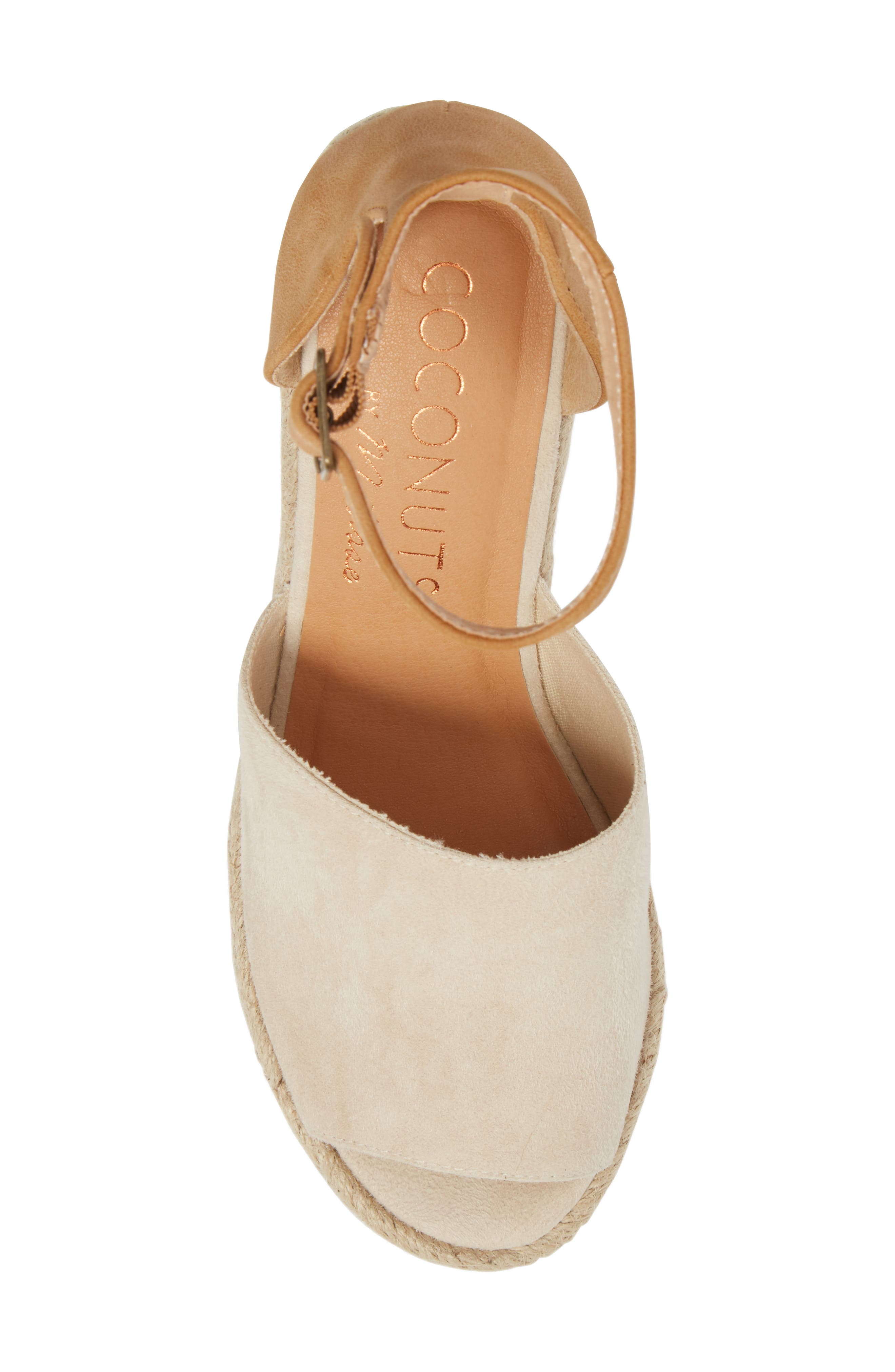 Flamingo Wedge Sandal,                             Alternate thumbnail 5, color,                             Natural Suede