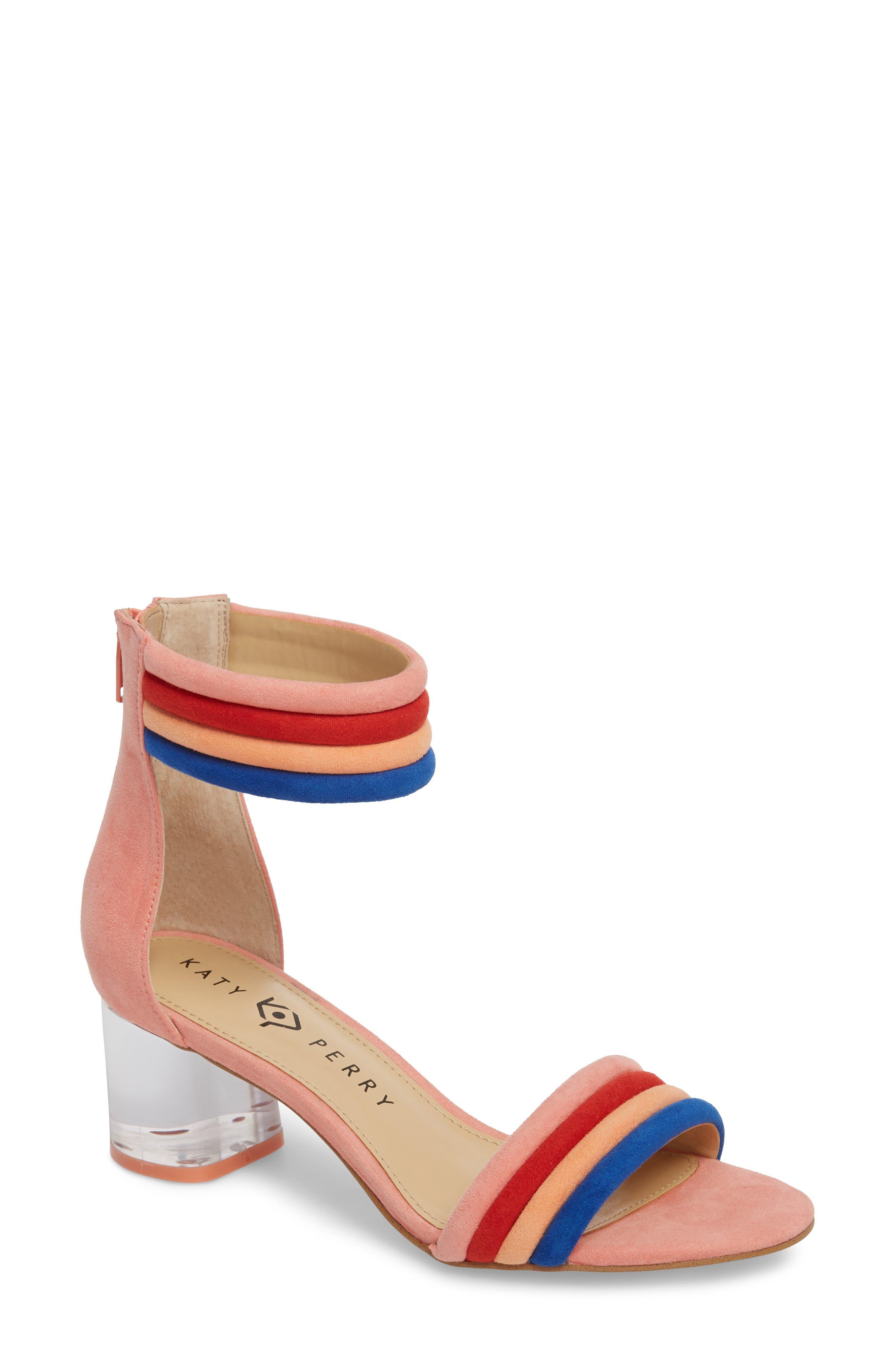 Tube Strap Sandal,                         Main,                         color, Pop Pink Suede