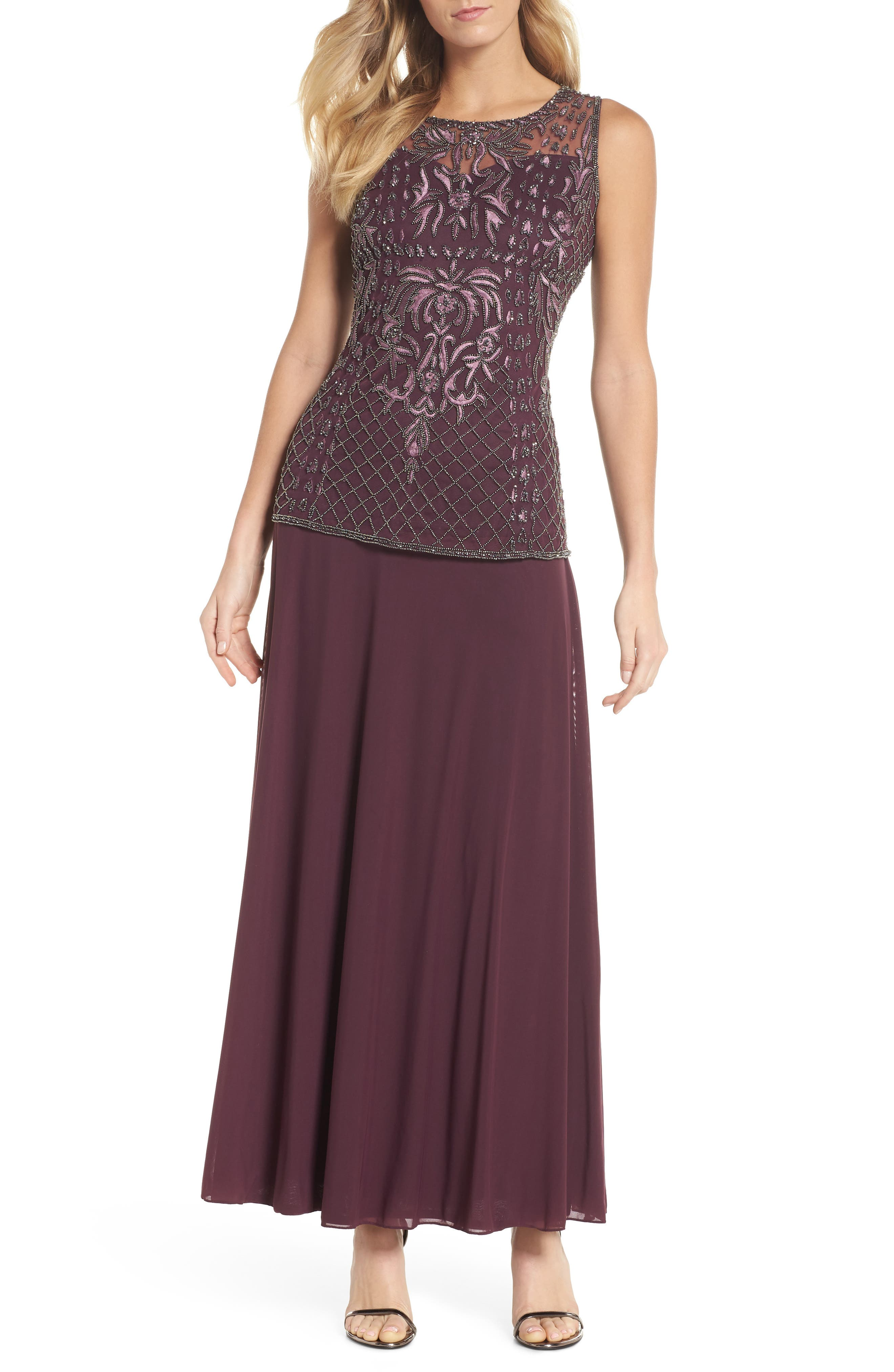 Beaded Bodice Mock Two-Piece Gown,                             Main thumbnail 1, color,                             Plum