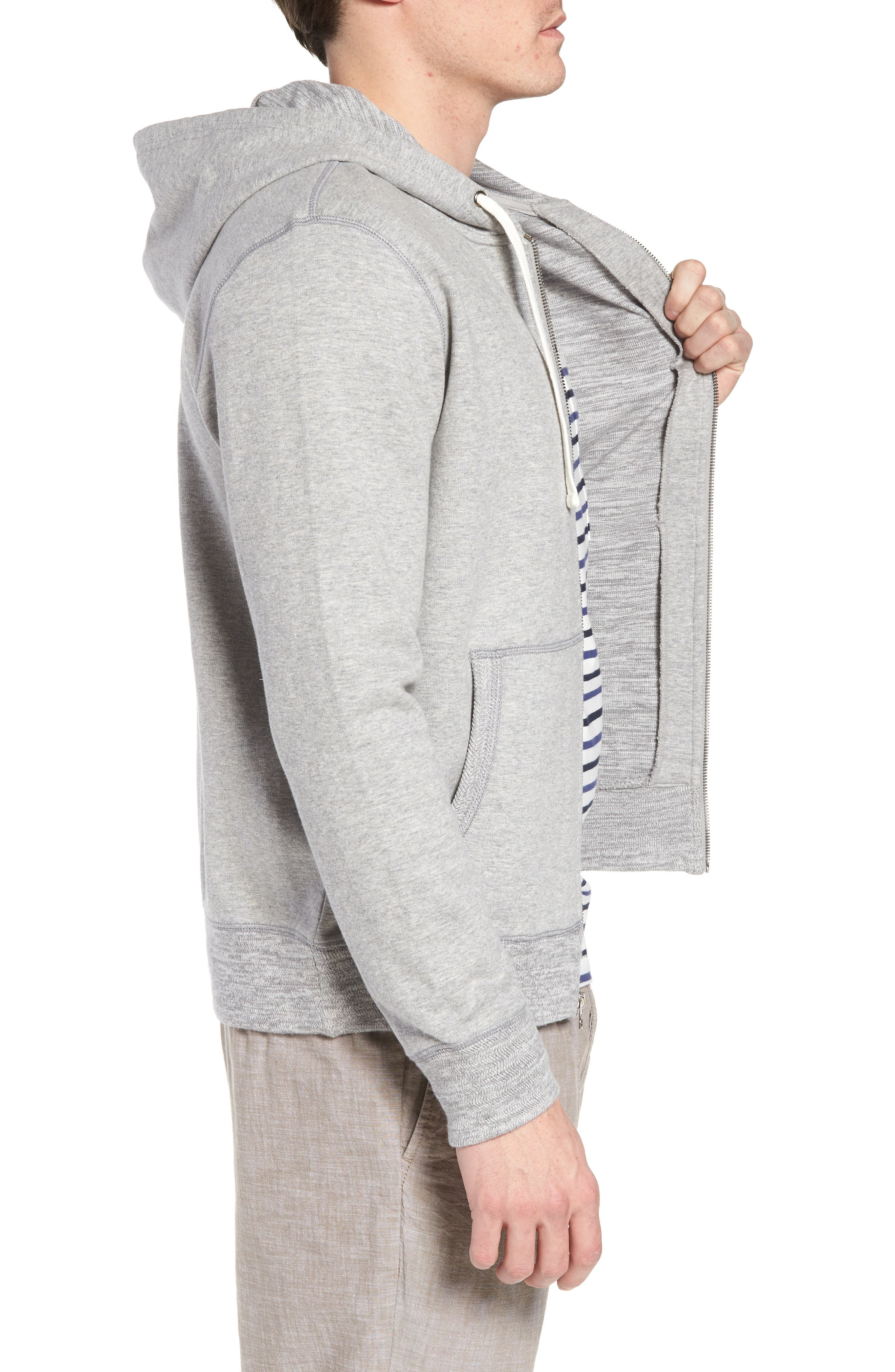 Space Dyed Zip Hoodie,                             Alternate thumbnail 3, color,                             Grey Weather Heather