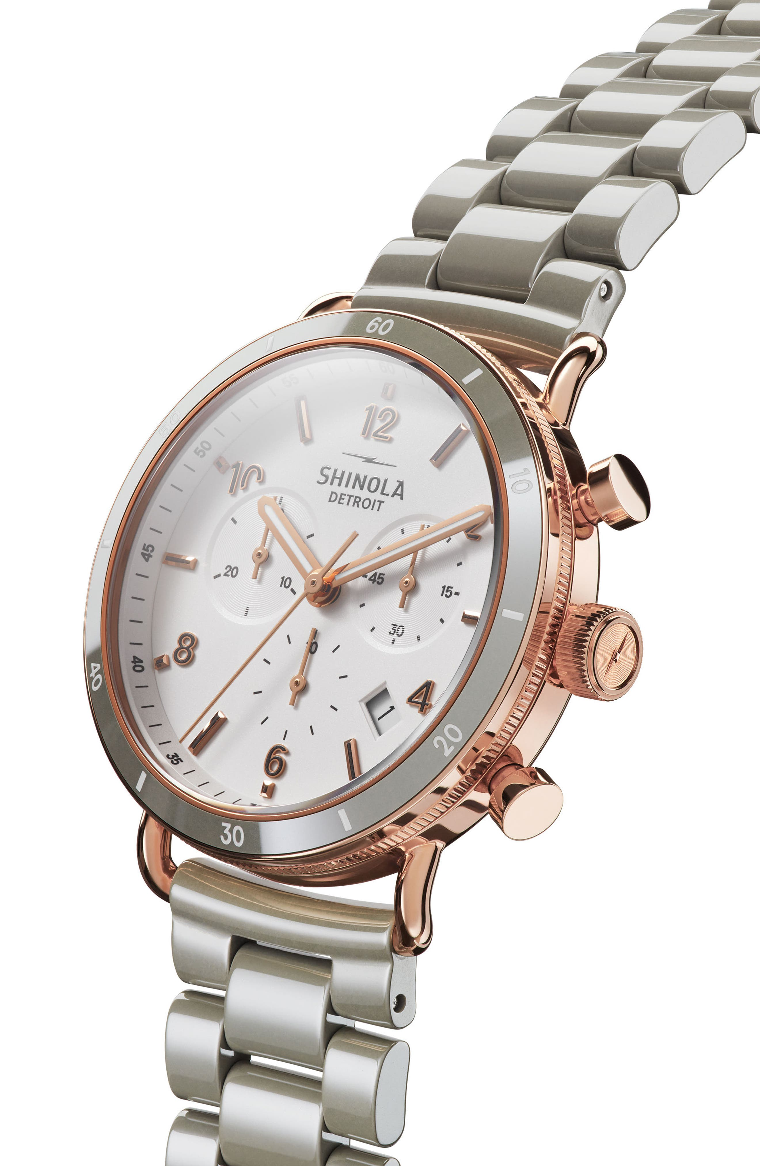 The Canfield Chrono Bracelet Watch, 40mm,                             Alternate thumbnail 5, color,                             Grey/ White/ Rose Gold