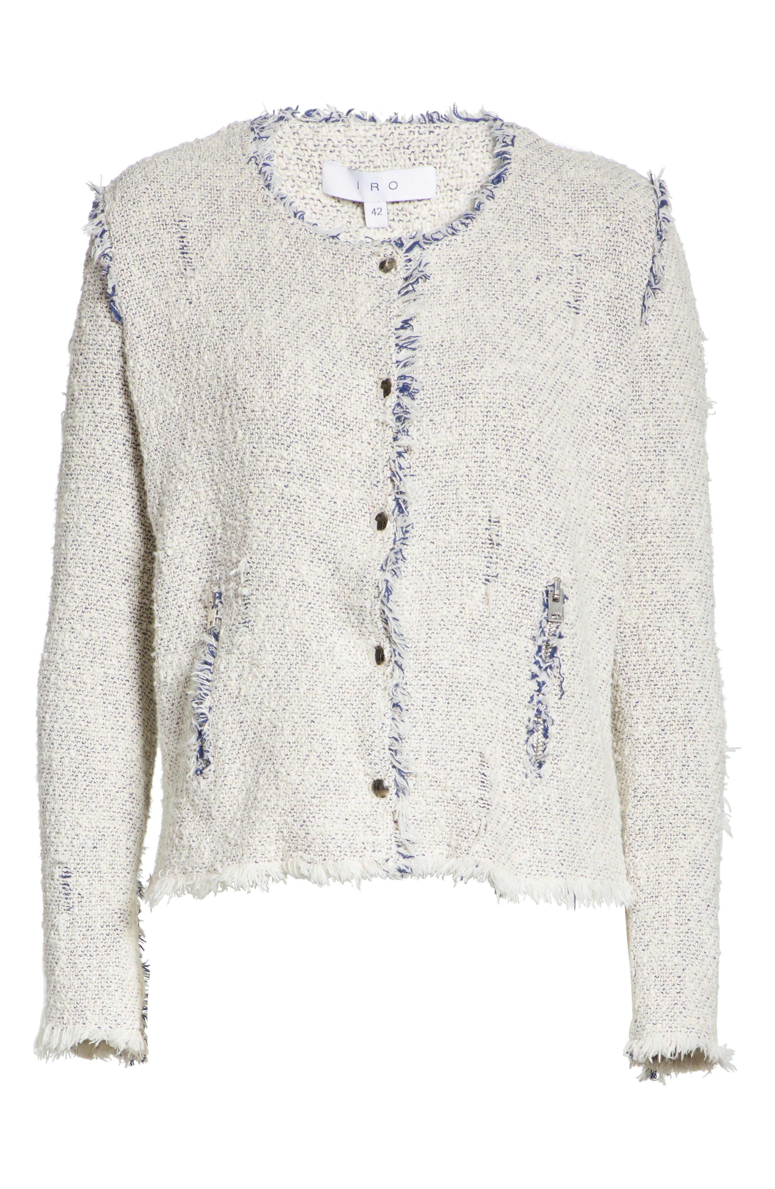 'Agnette' Tweed Jacket,                         Main,                         color, White/ Blue