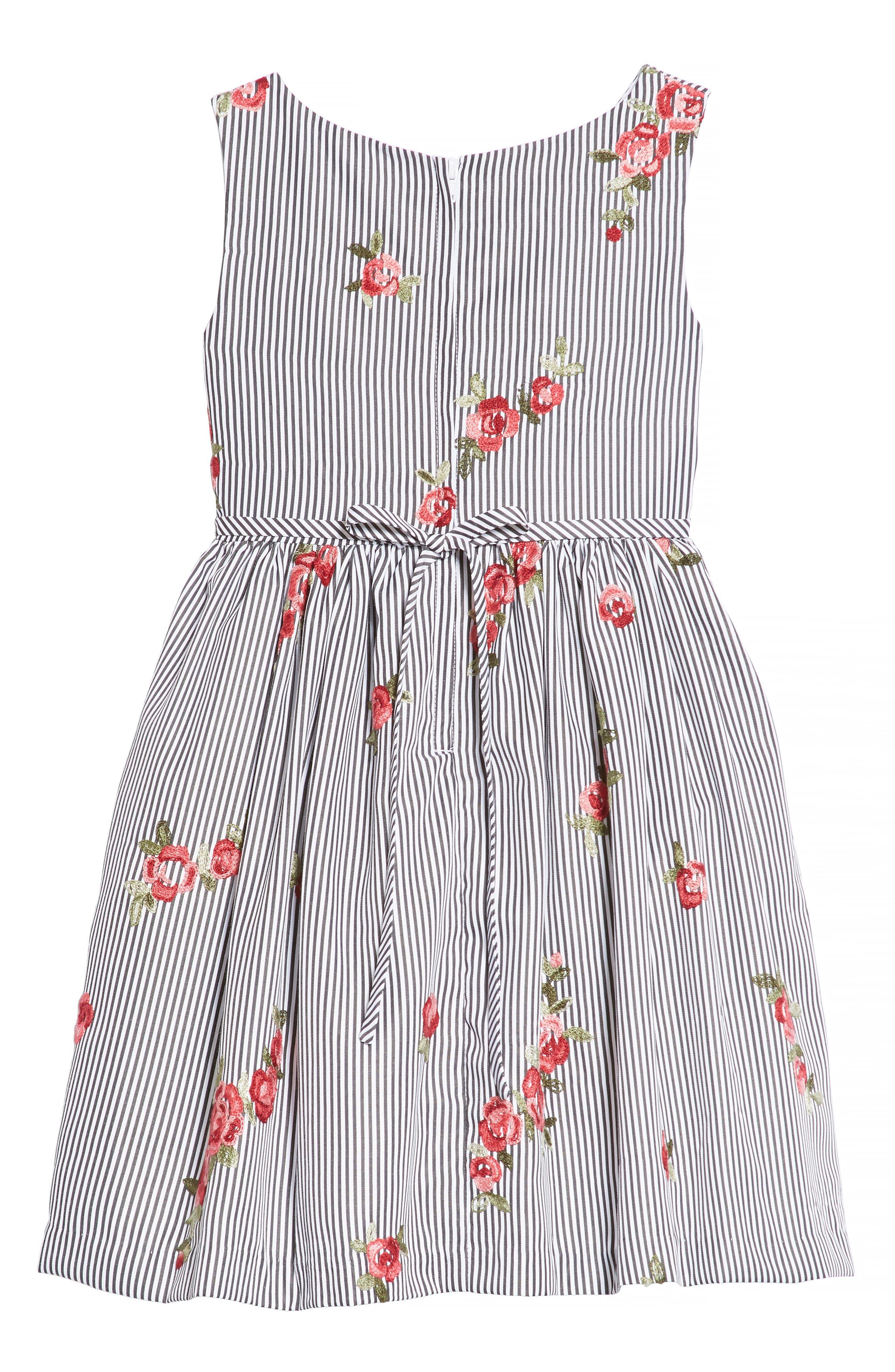Embroidered Stripe Dress,                             Alternate thumbnail 2, color,                             Black/ White