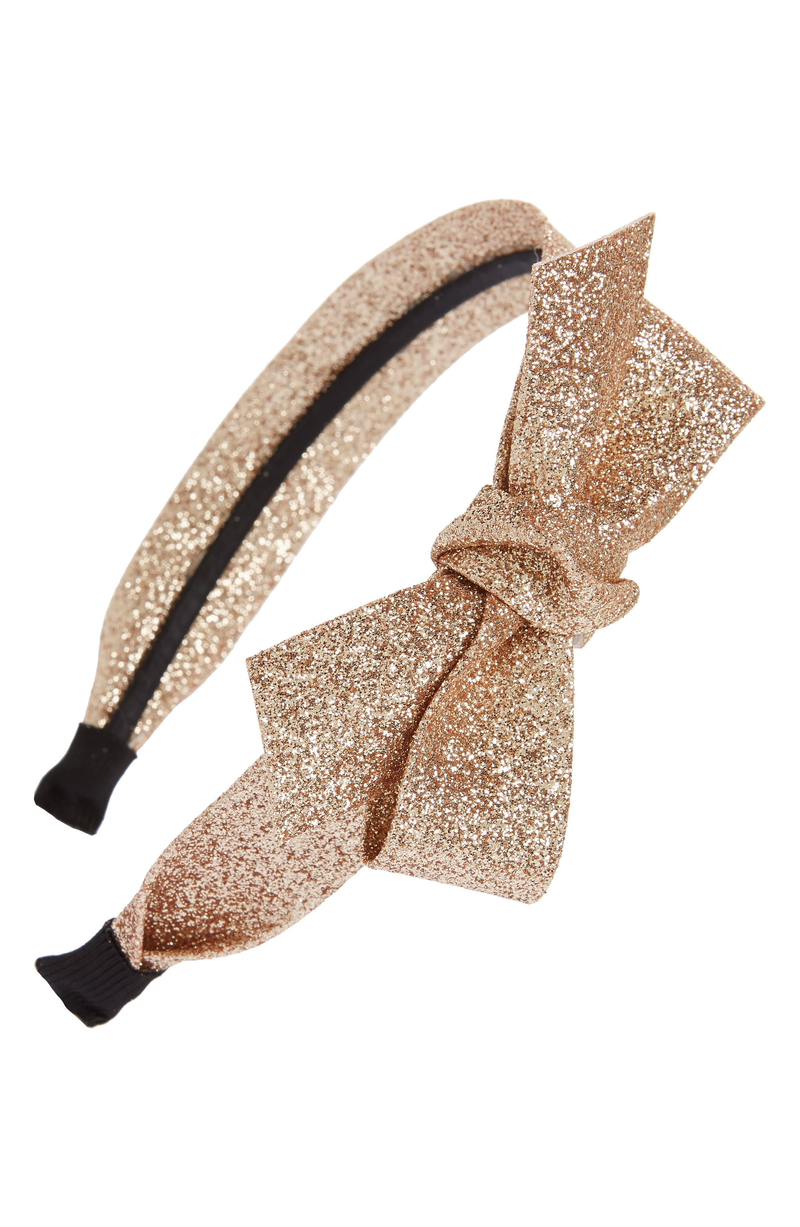 Glitter Bow Headband,                         Main,                         color, Taupe