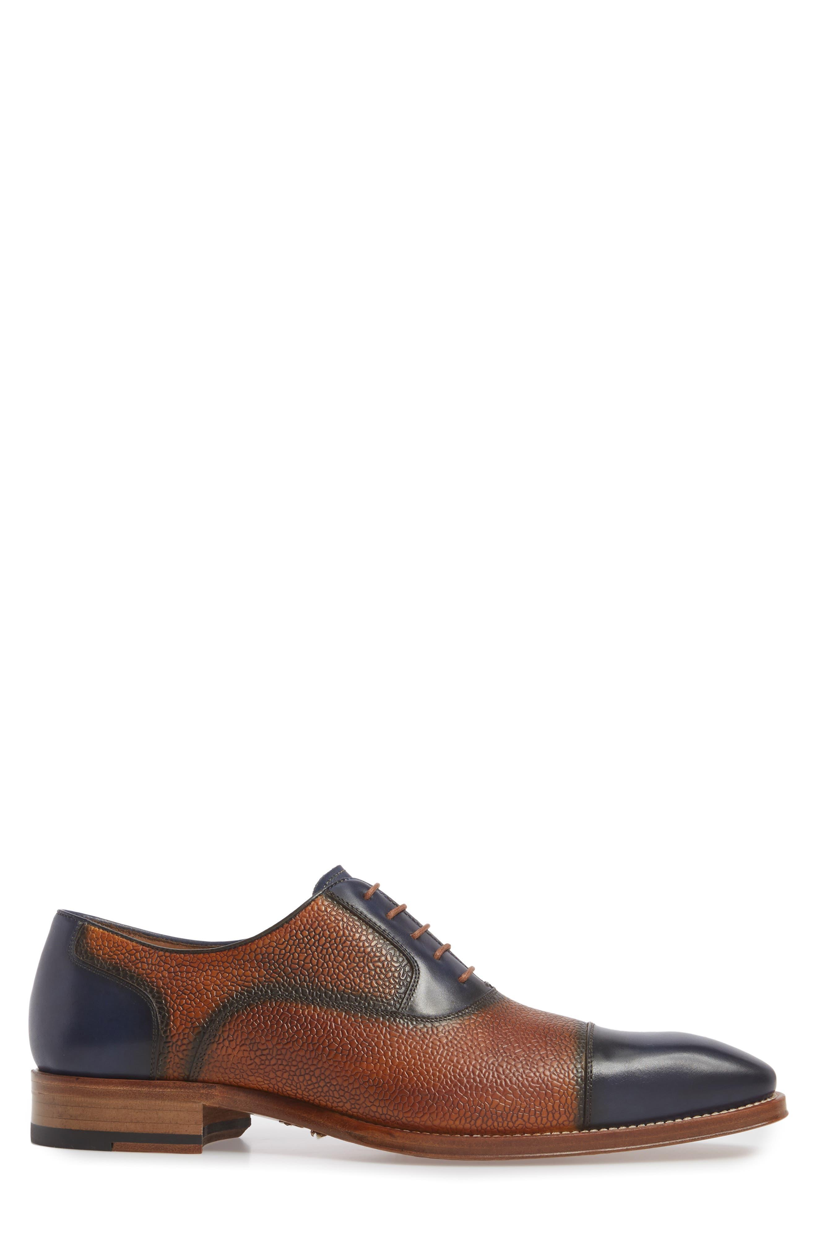 Verino Cap Toe Oxford,                             Alternate thumbnail 3, color,                             Blue/ Tan Leather