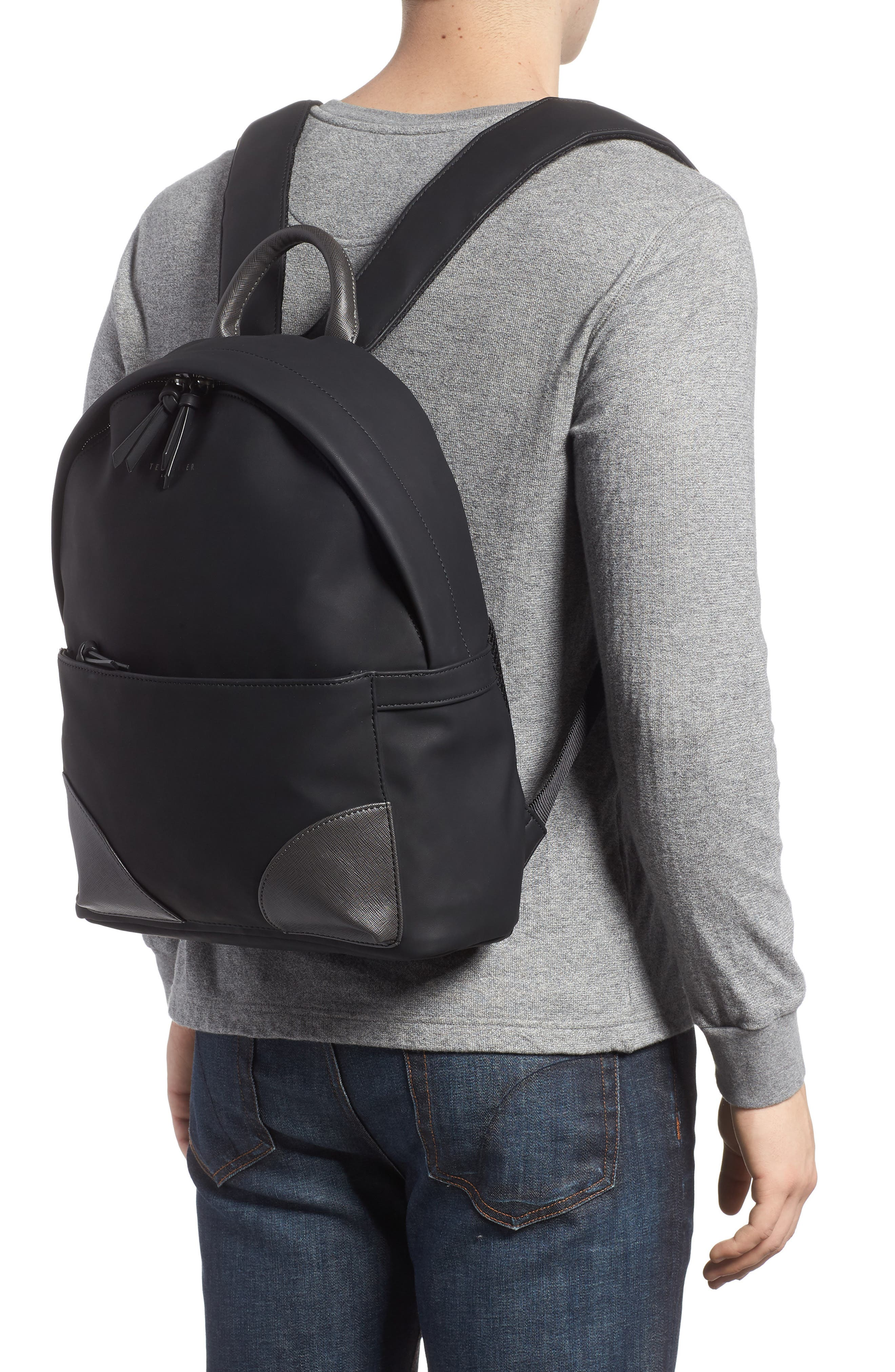 Passed Faux Leather Backpack,                             Alternate thumbnail 2, color,                             Black