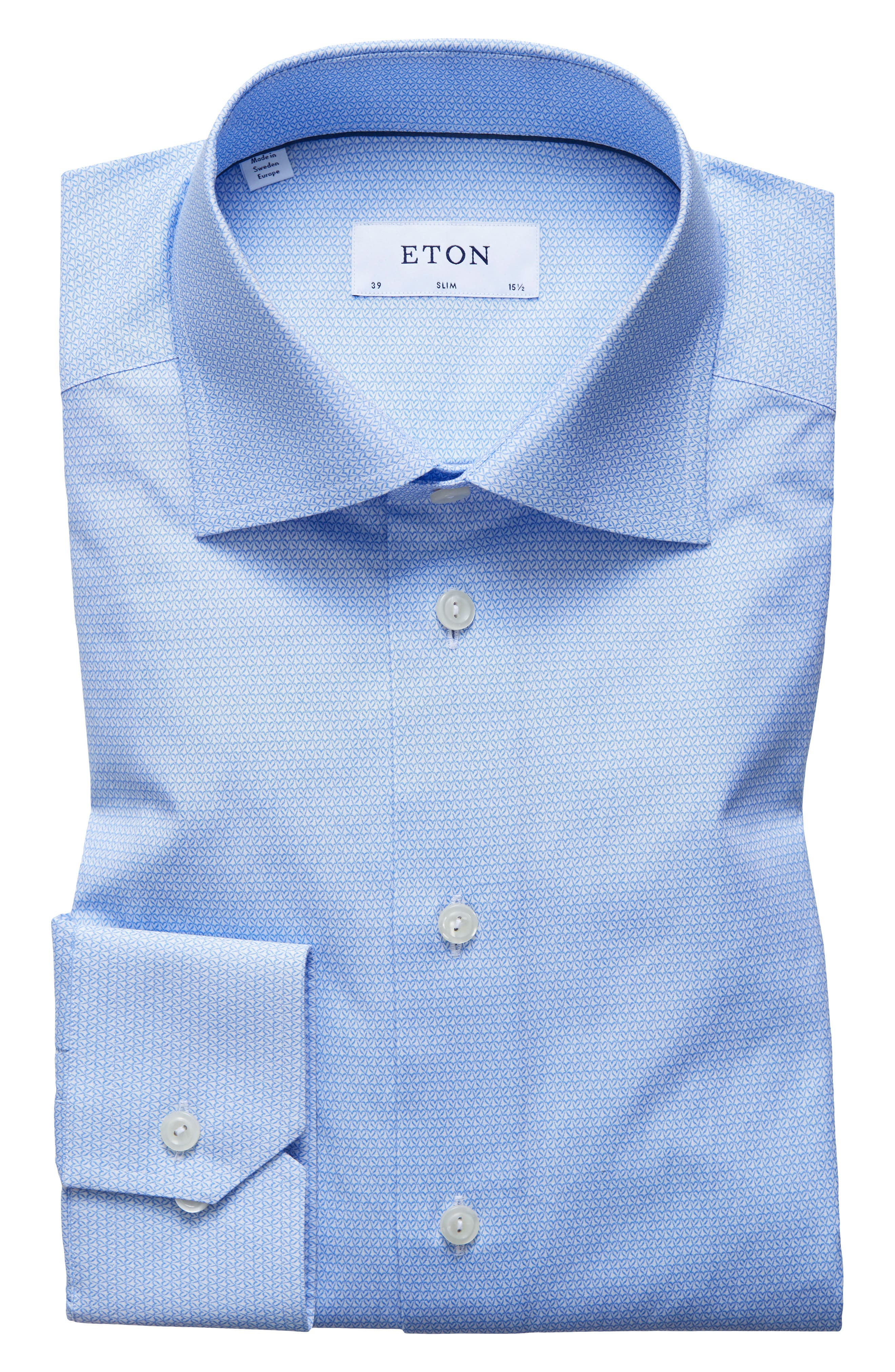 Slim Fit Print Dress Shirt,                         Main,                         color, Blue