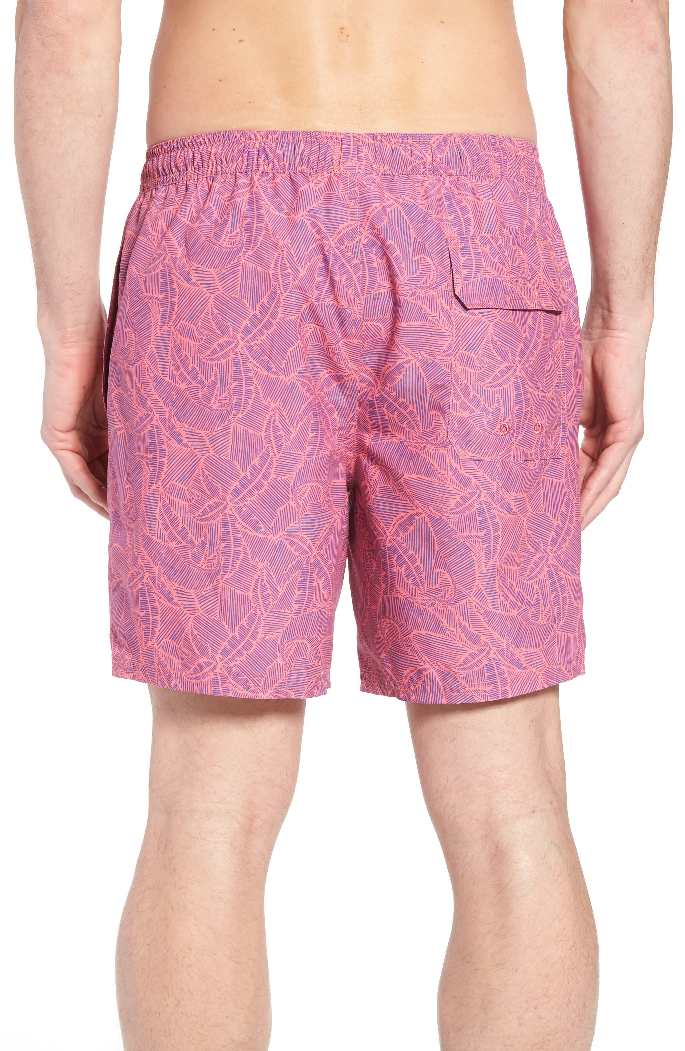 Linear Tropics Chappy Swim Trunks,                             Alternate thumbnail 2, color,                             Sunset Pink