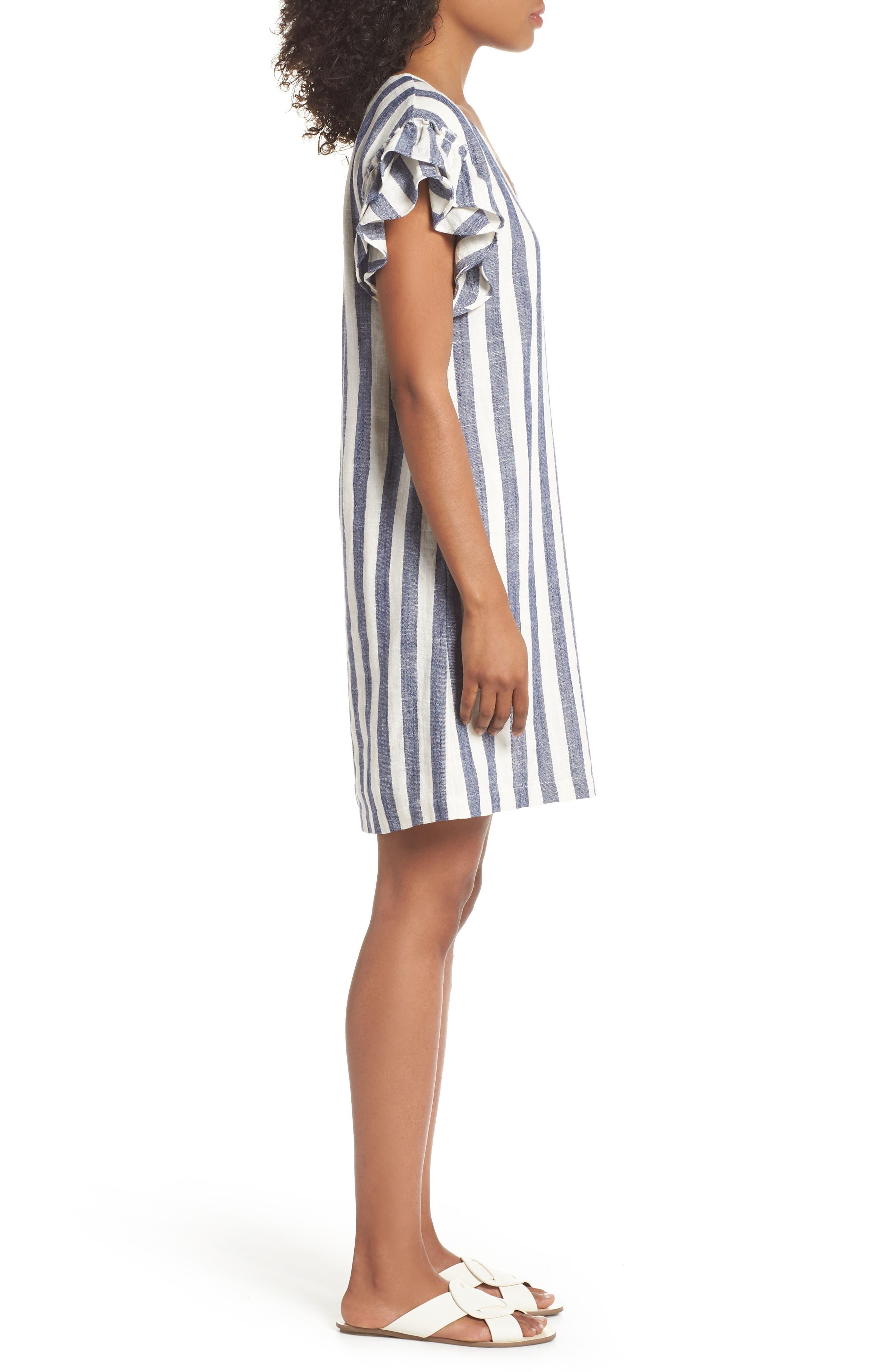 Ruffle Sleeve Shift Dress,                             Alternate thumbnail 3, color,                             Navy-White