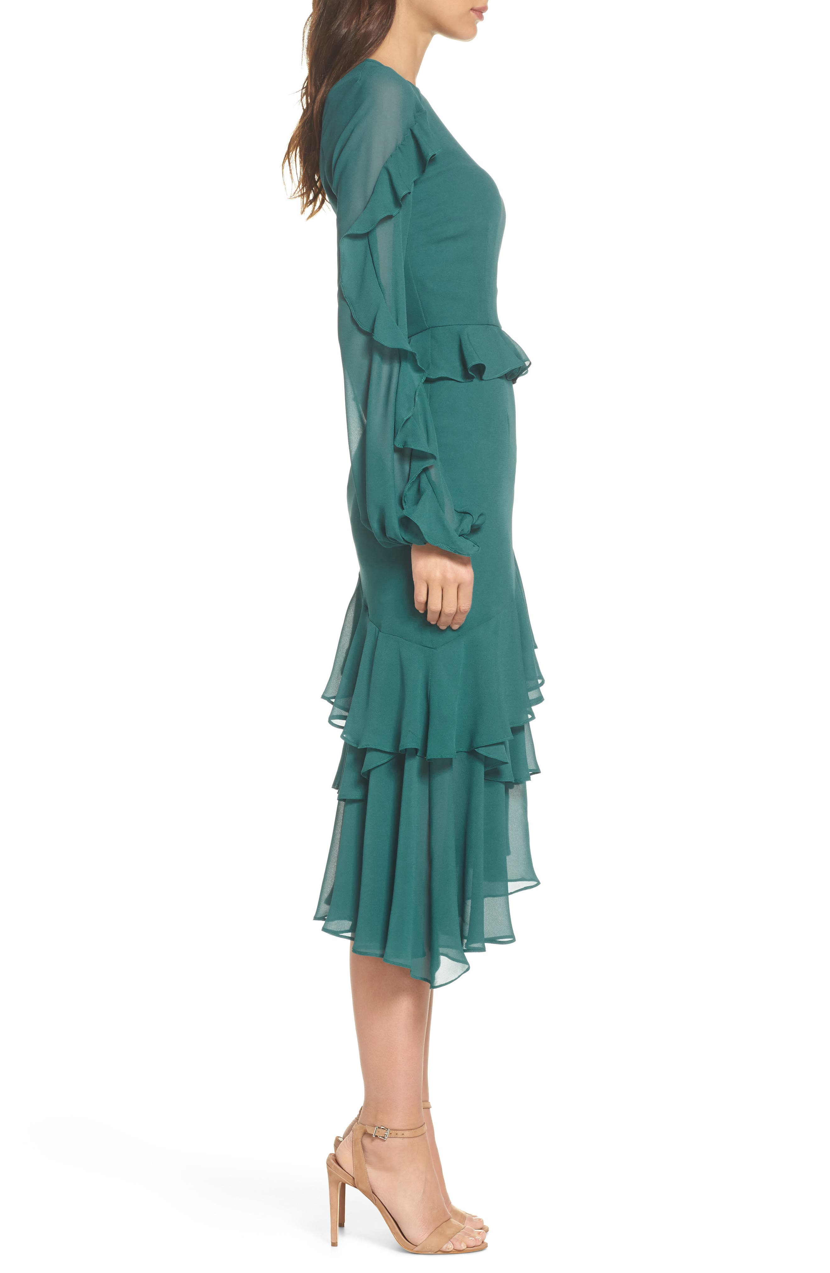 Dawn Drift Ruffle Midi Dress,                             Alternate thumbnail 3, color,                             North Sea