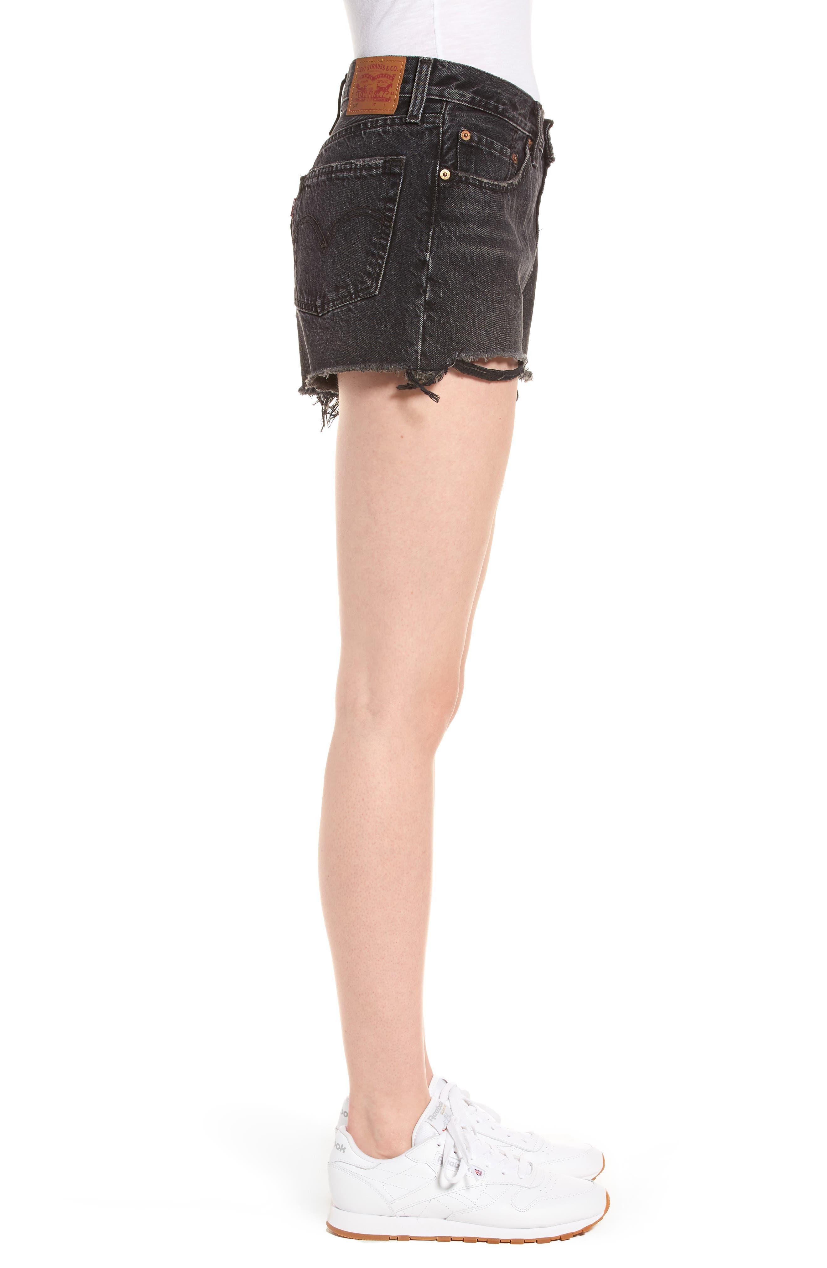501<sup>®</sup> Cutoff Denim Shorts,                             Alternate thumbnail 3, color,                             Black Eye
