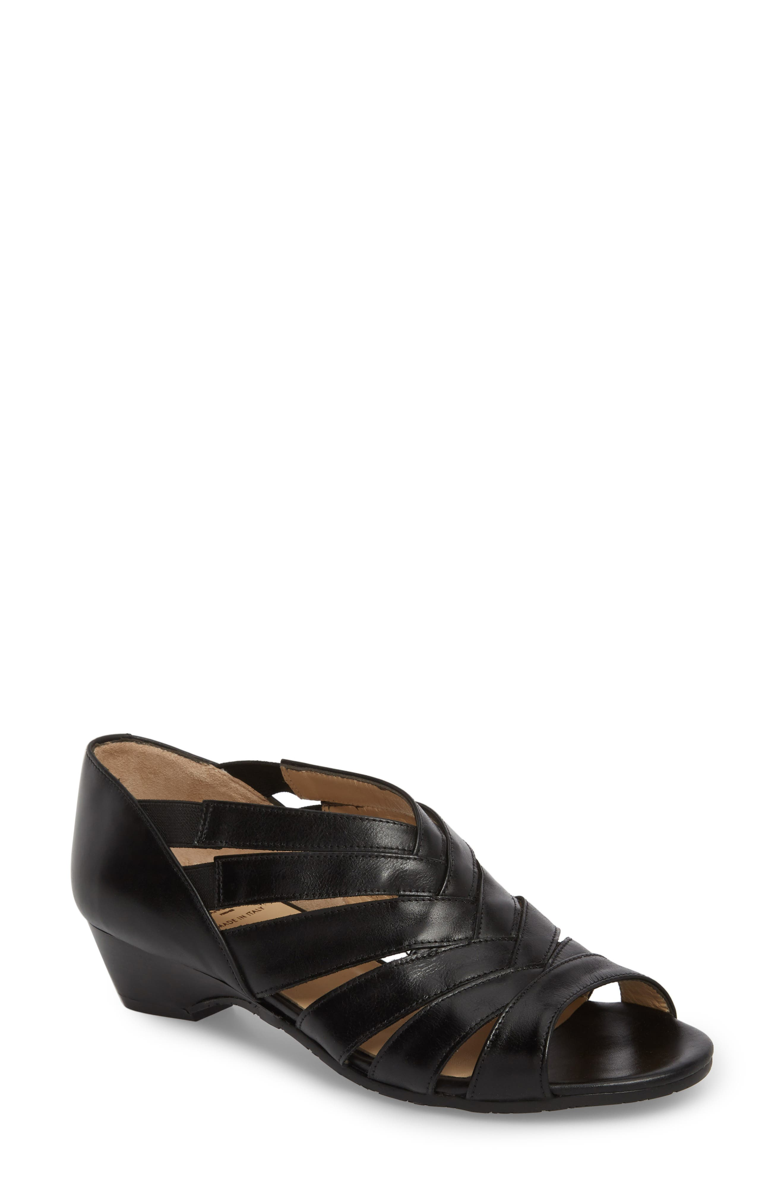 Demetra Sandal,                             Main thumbnail 1, color,                             Black Leather