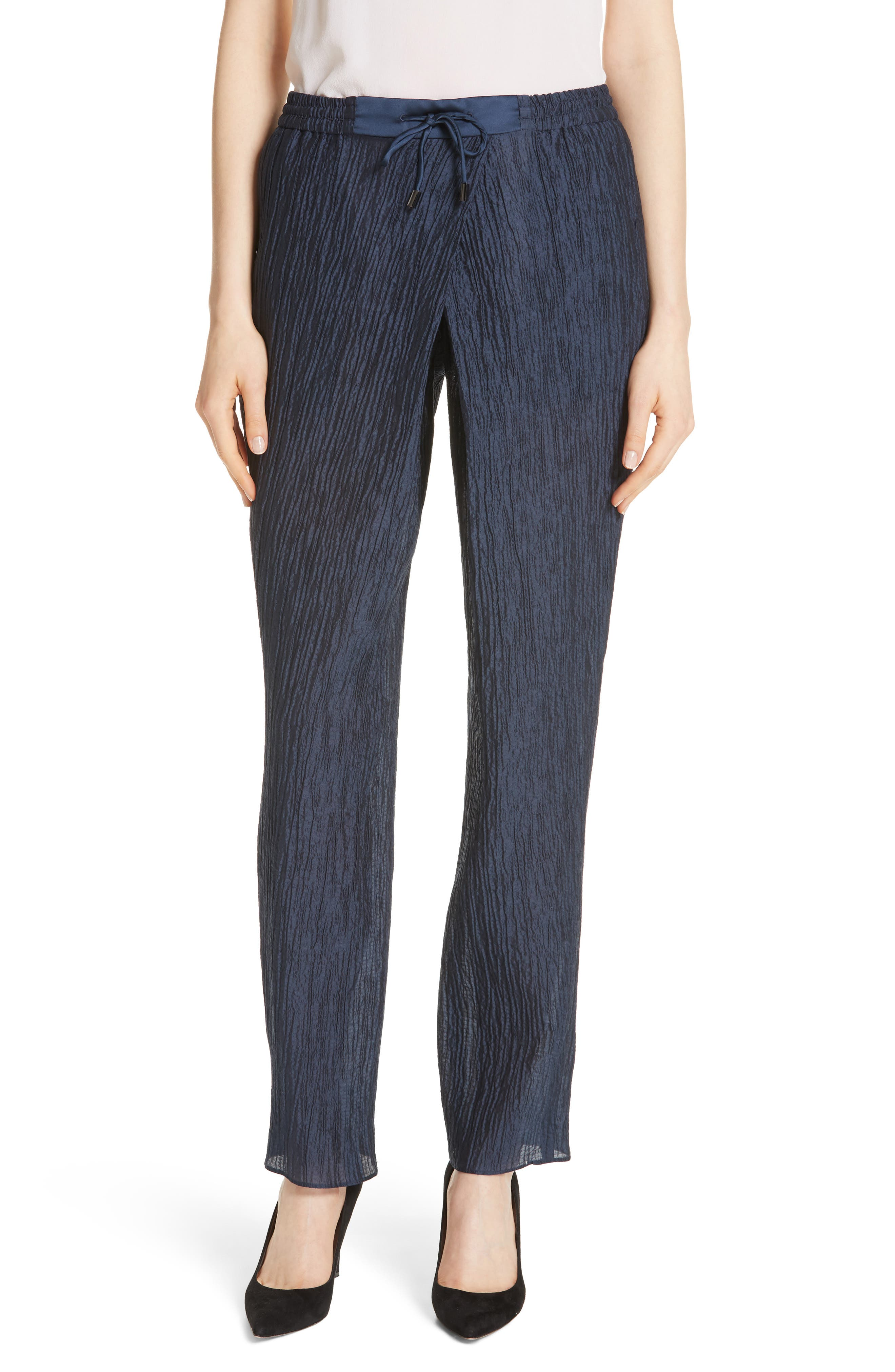 Crinkled Cotton & Silk Pants,                         Main,                         color, Navy