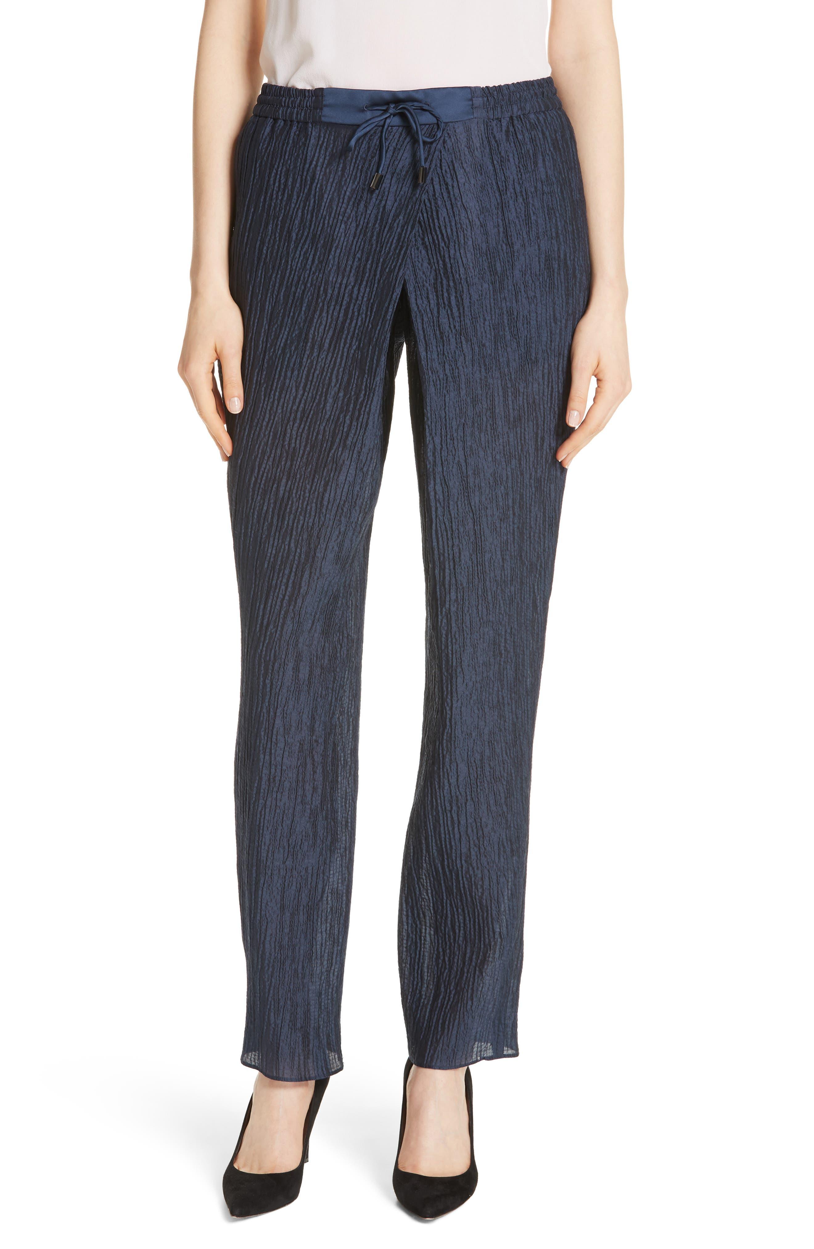 Emporio Armani Crinkled Cotton & Silk Pants