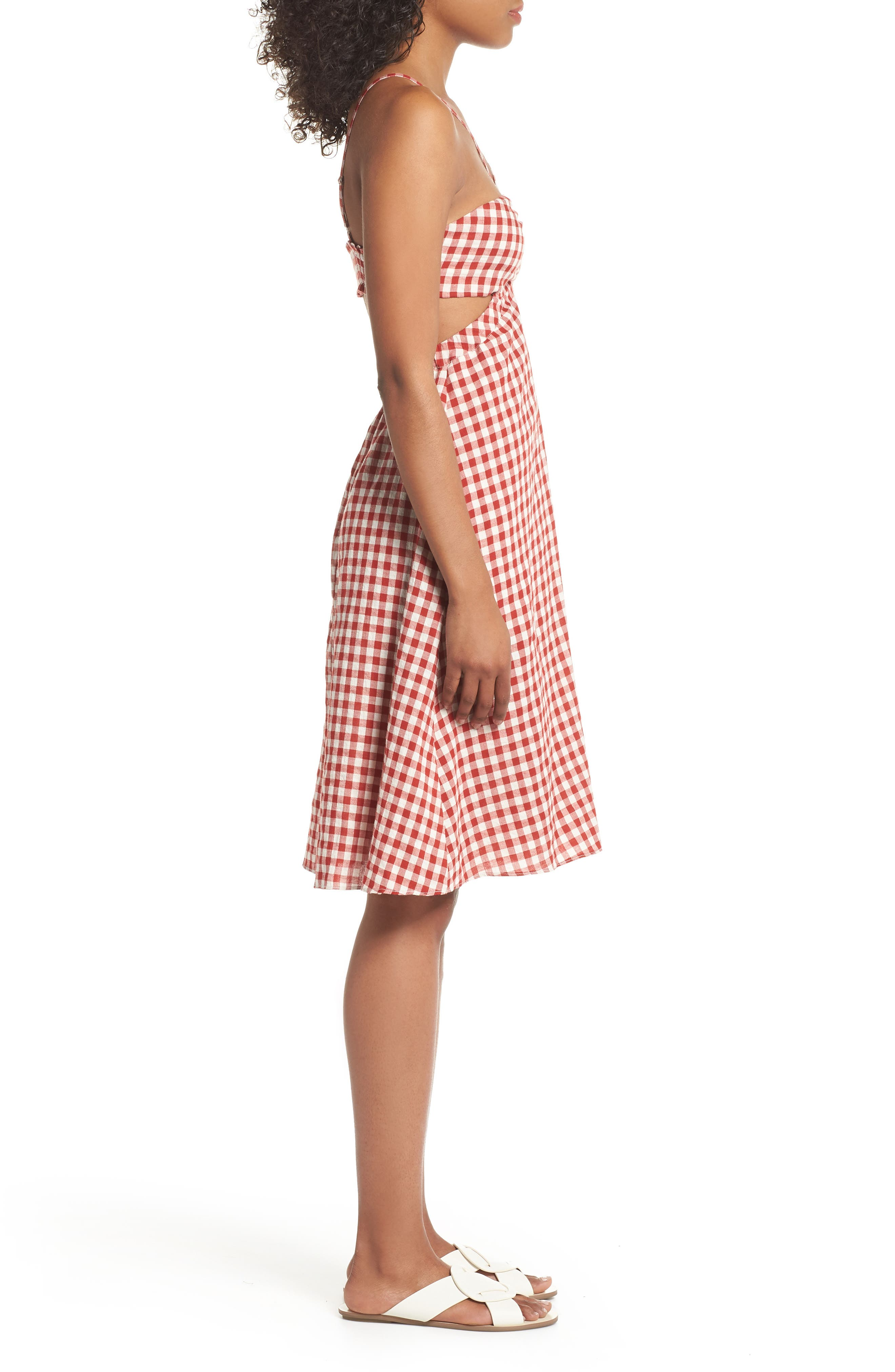 Gingham Bandeau Dress,                             Alternate thumbnail 3, color,                             Red-White