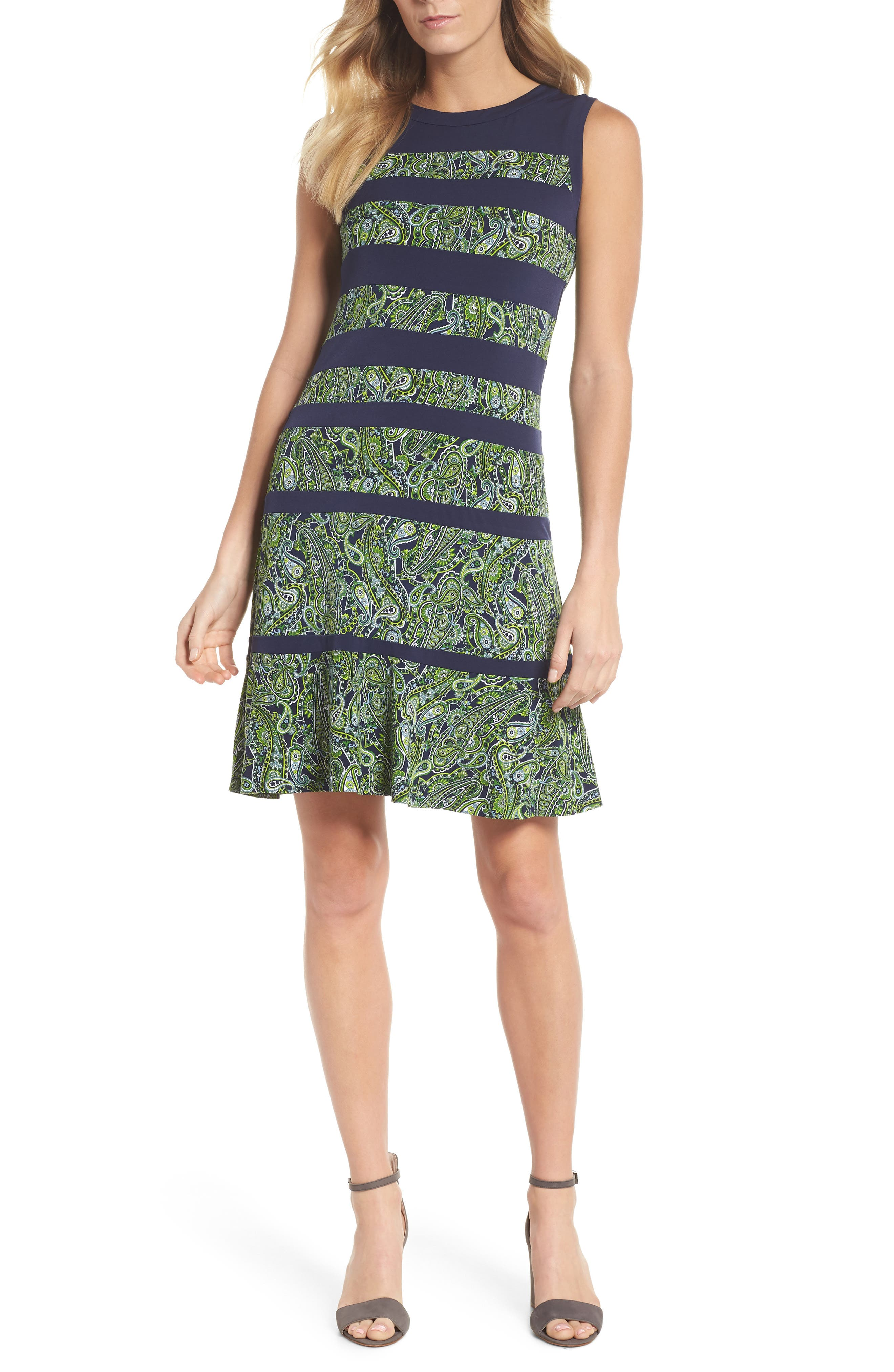 Paisley Paneled Dress,                             Main thumbnail 1, color,                             True Navy/ Green Apple Mu