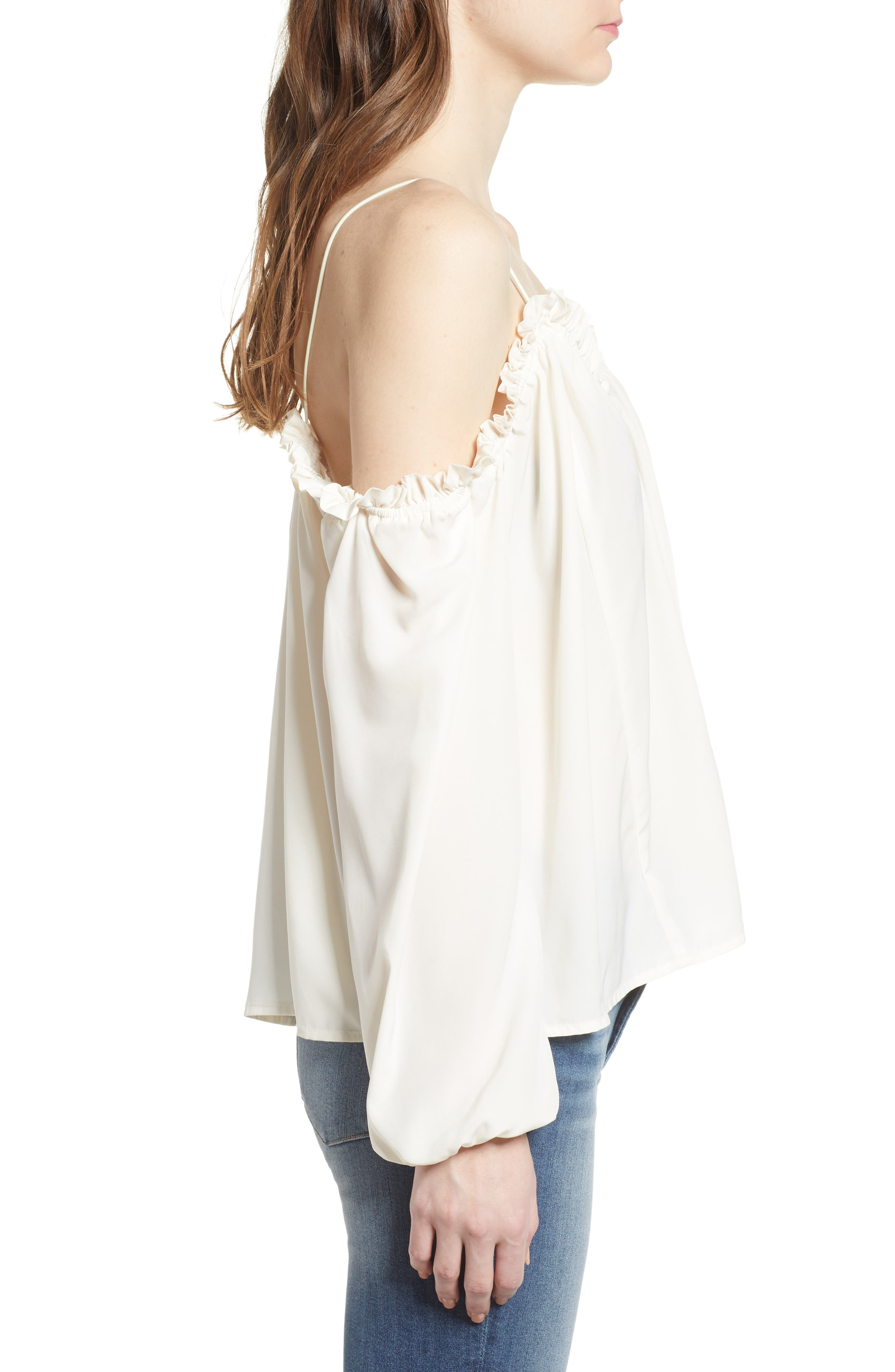 Cold Shoulder Blouson Top,                             Alternate thumbnail 3, color,                             Ivory Egret