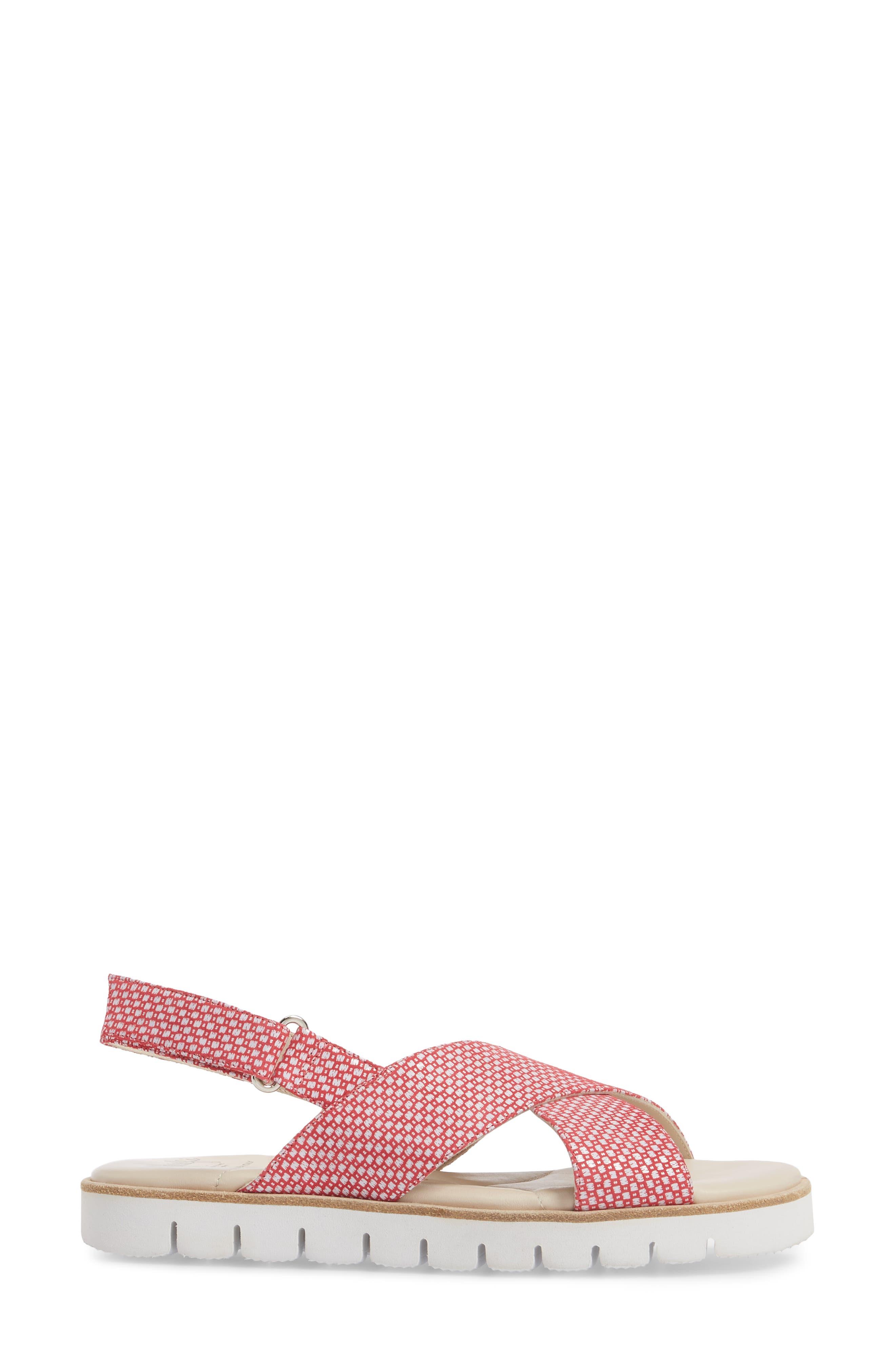 Borgo Sandal,                             Alternate thumbnail 3, color,                             Red/ White Leather