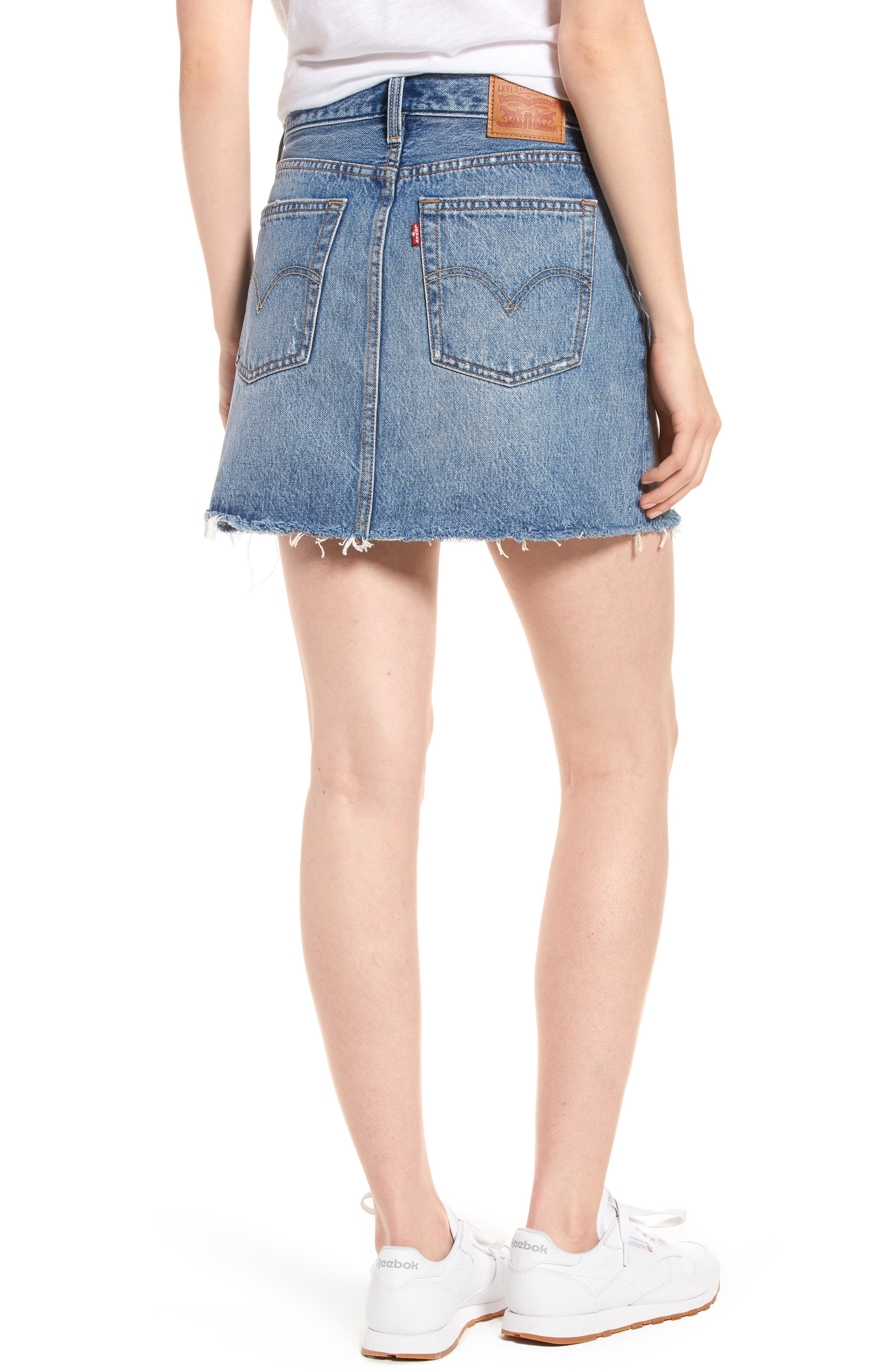 Distressed Denim Skirt,                             Alternate thumbnail 2, color,                             Hole In One