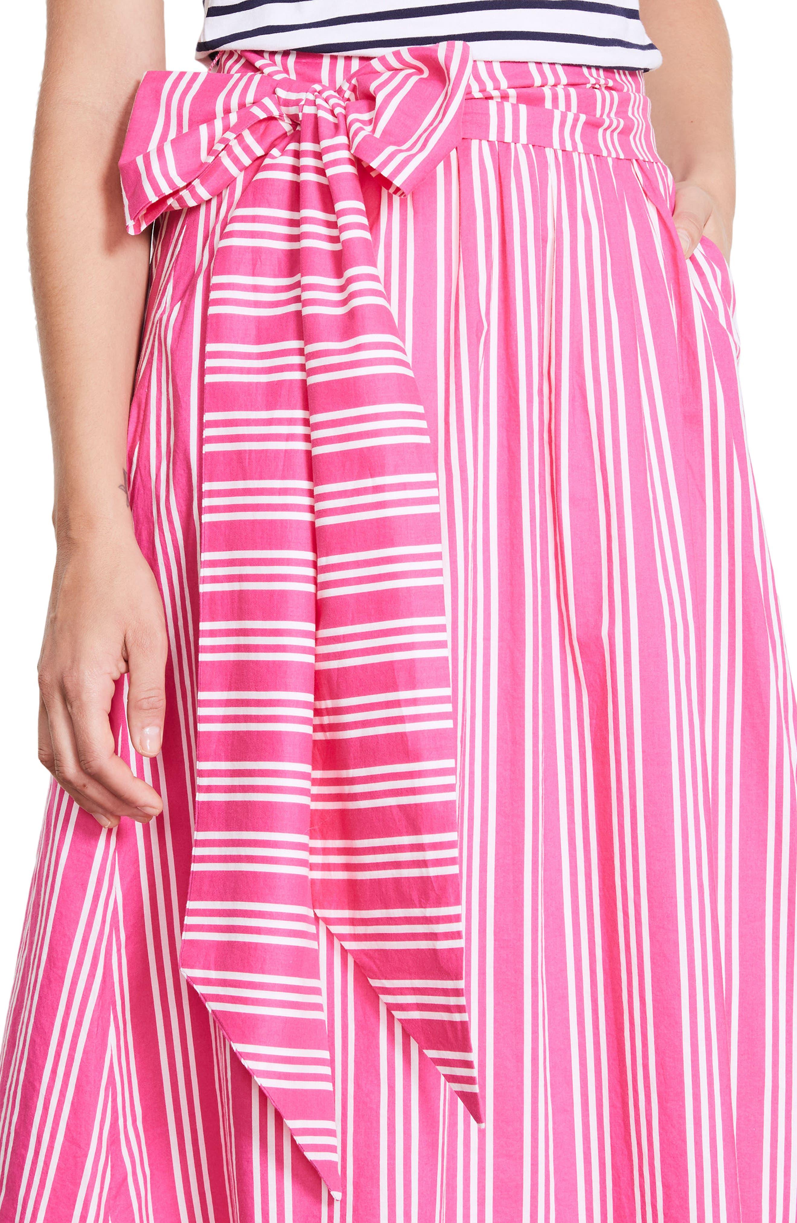 Kiera Midi Skirt,                             Alternate thumbnail 4, color,                             Party Pink And Ecru