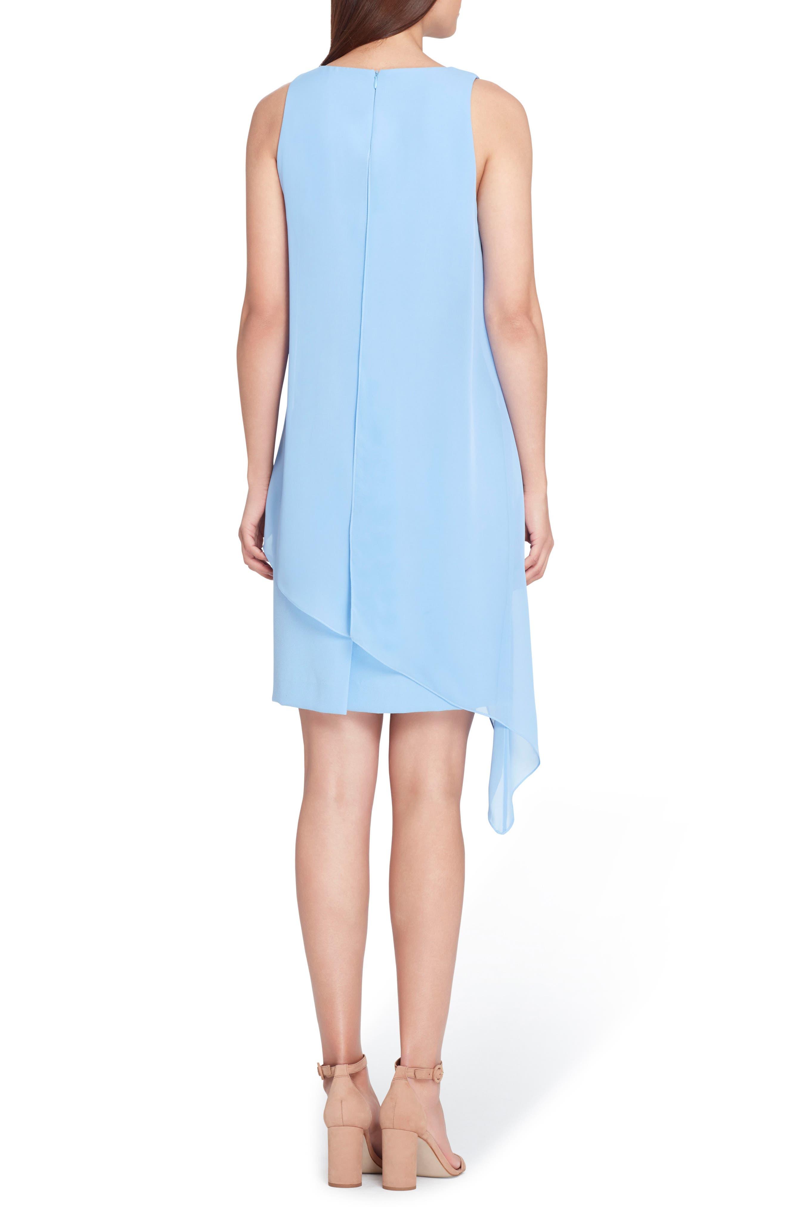 Sleeveless Chiffon Overlay Shift Dress,                             Alternate thumbnail 2, color,                             Cornflower Blue