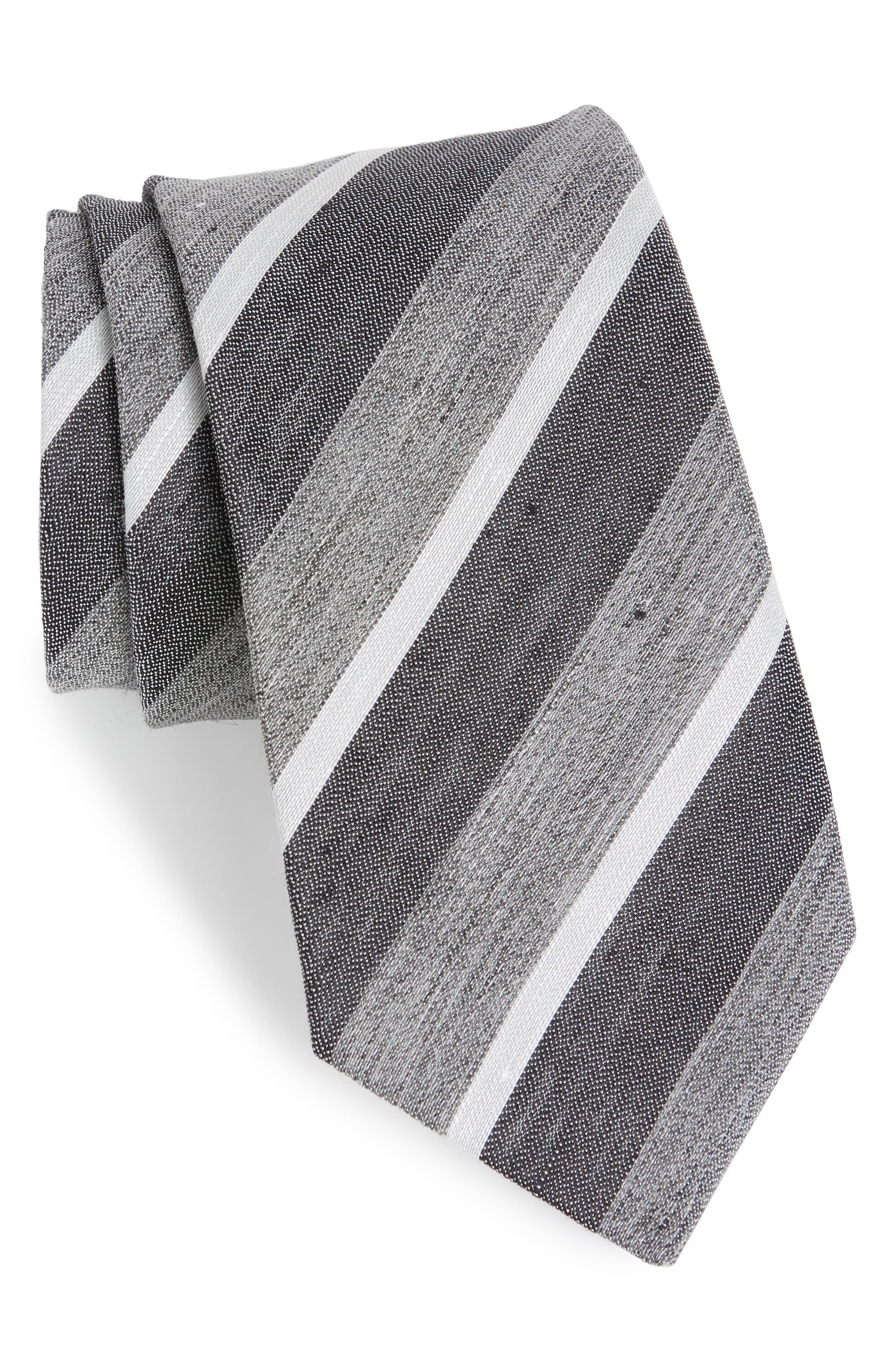 Stripe Linen & Silk Tie,                             Main thumbnail 1, color,                             Grey