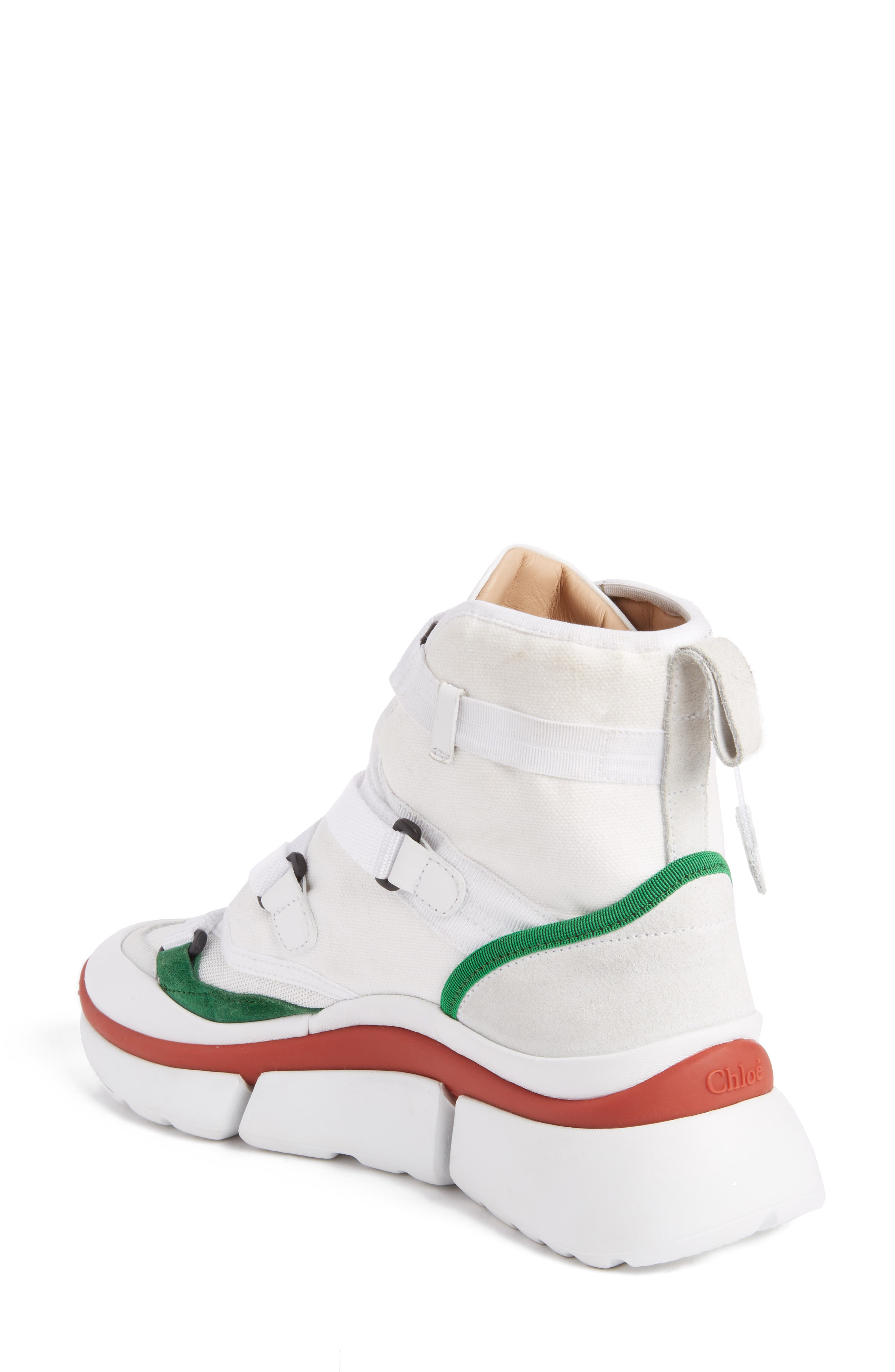 Sonnie High Top Sneaker,                             Alternate thumbnail 2, color,                             White/ Green/ Red