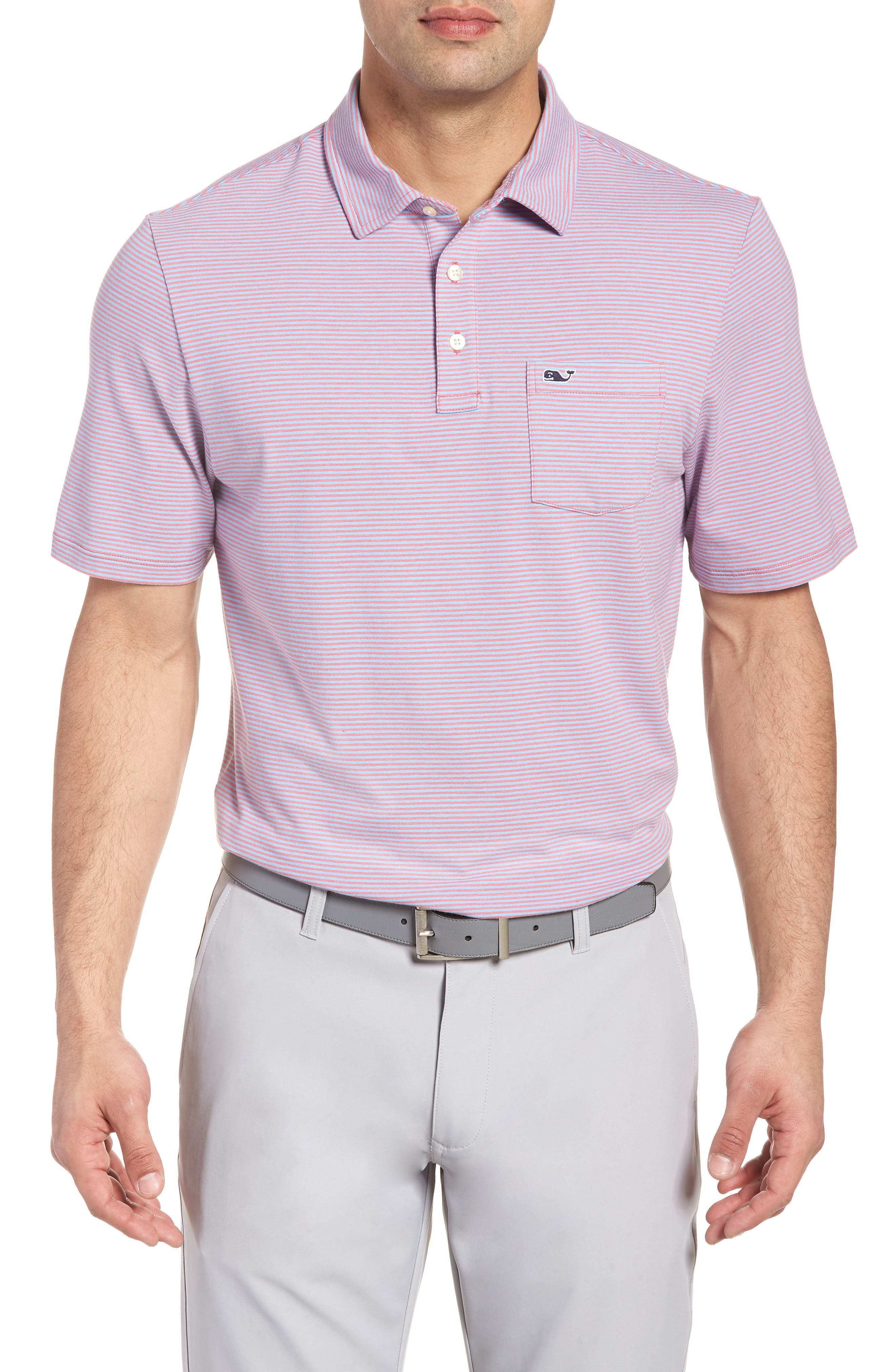 Edgartown Stripe Stretch Polo,                         Main,                         color, Jetty Red