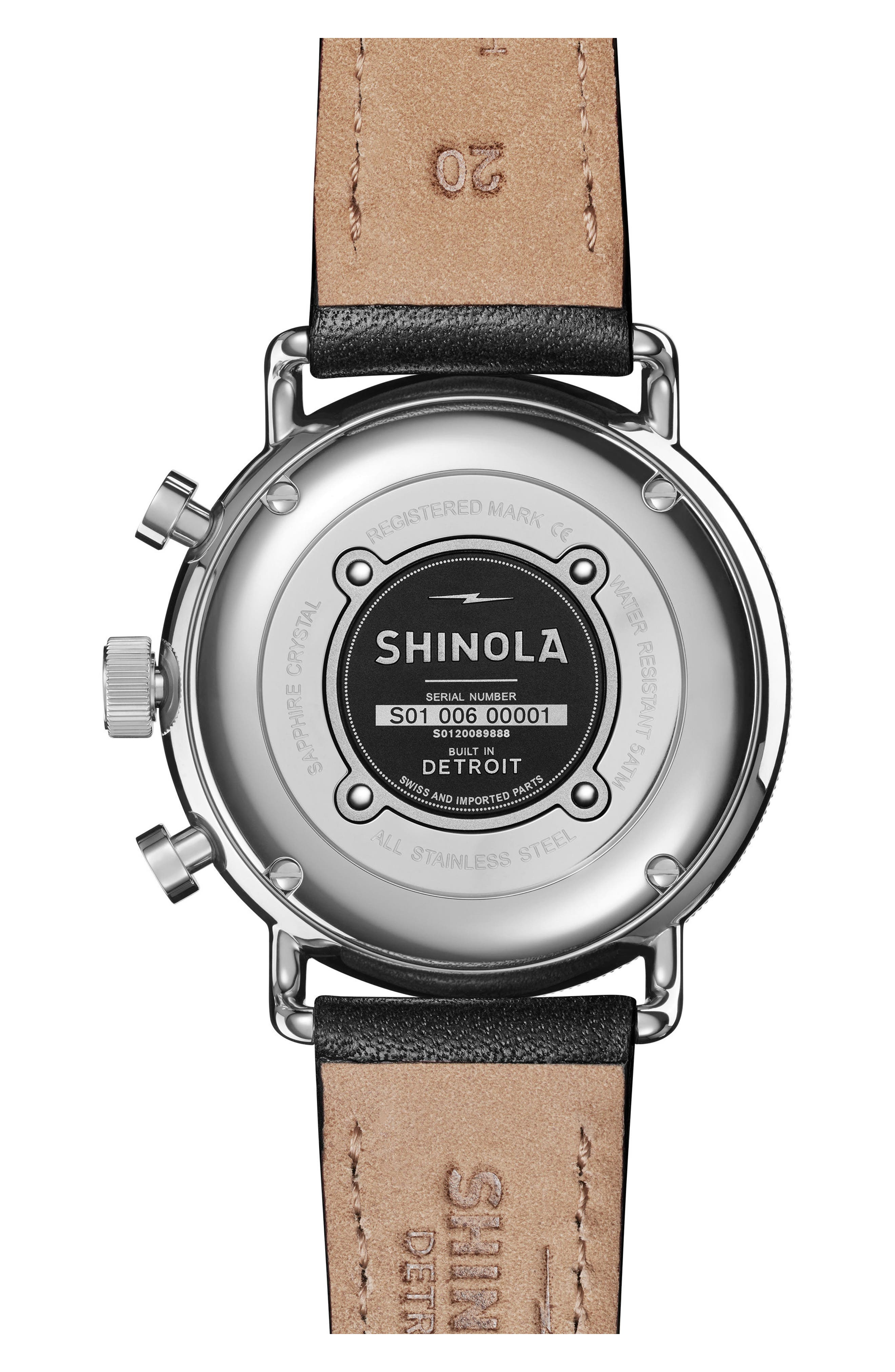 The Canfield Chrono Leather Strap Watch, 40mm,                             Alternate thumbnail 2, color,                             Black/ White/ Silver