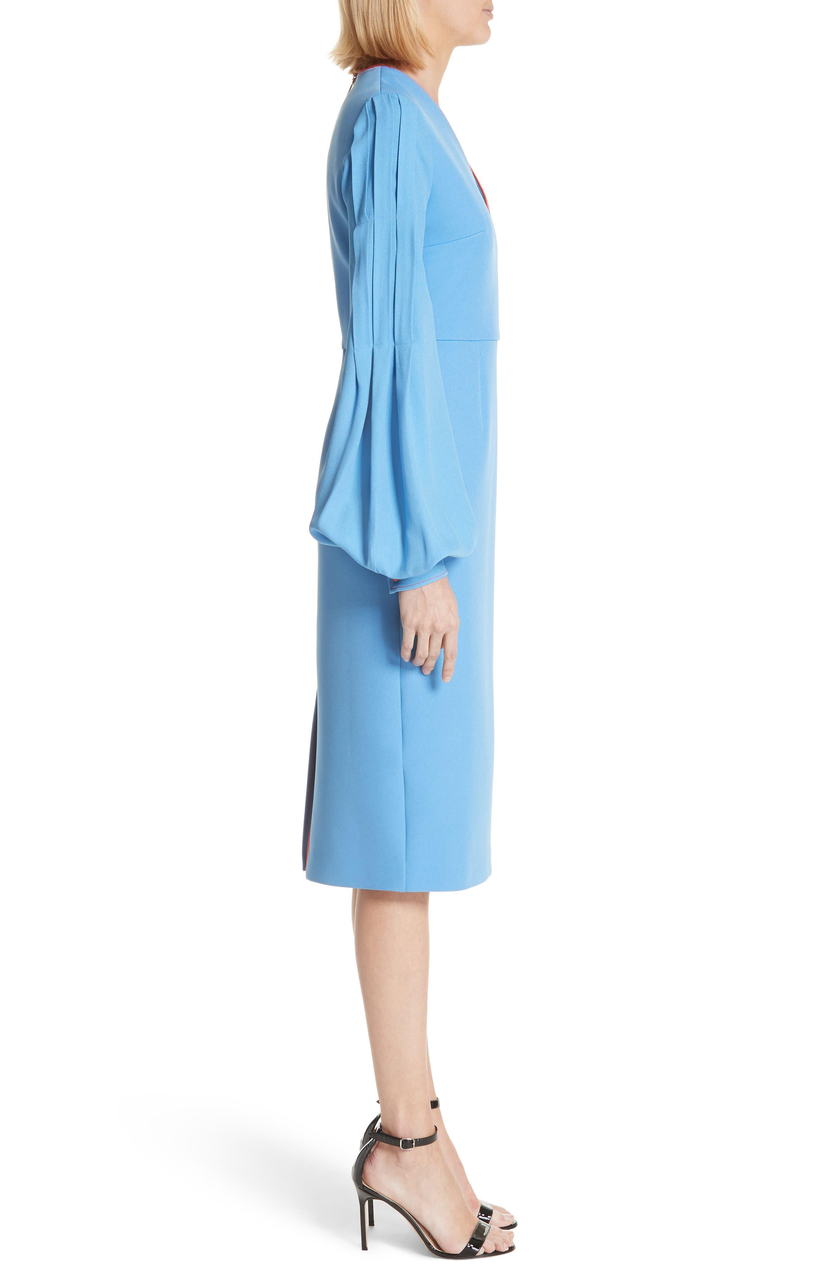 Essi Balloon Sleeve Crepe Satin Dress,                             Alternate thumbnail 3, color,                             Agapanthus