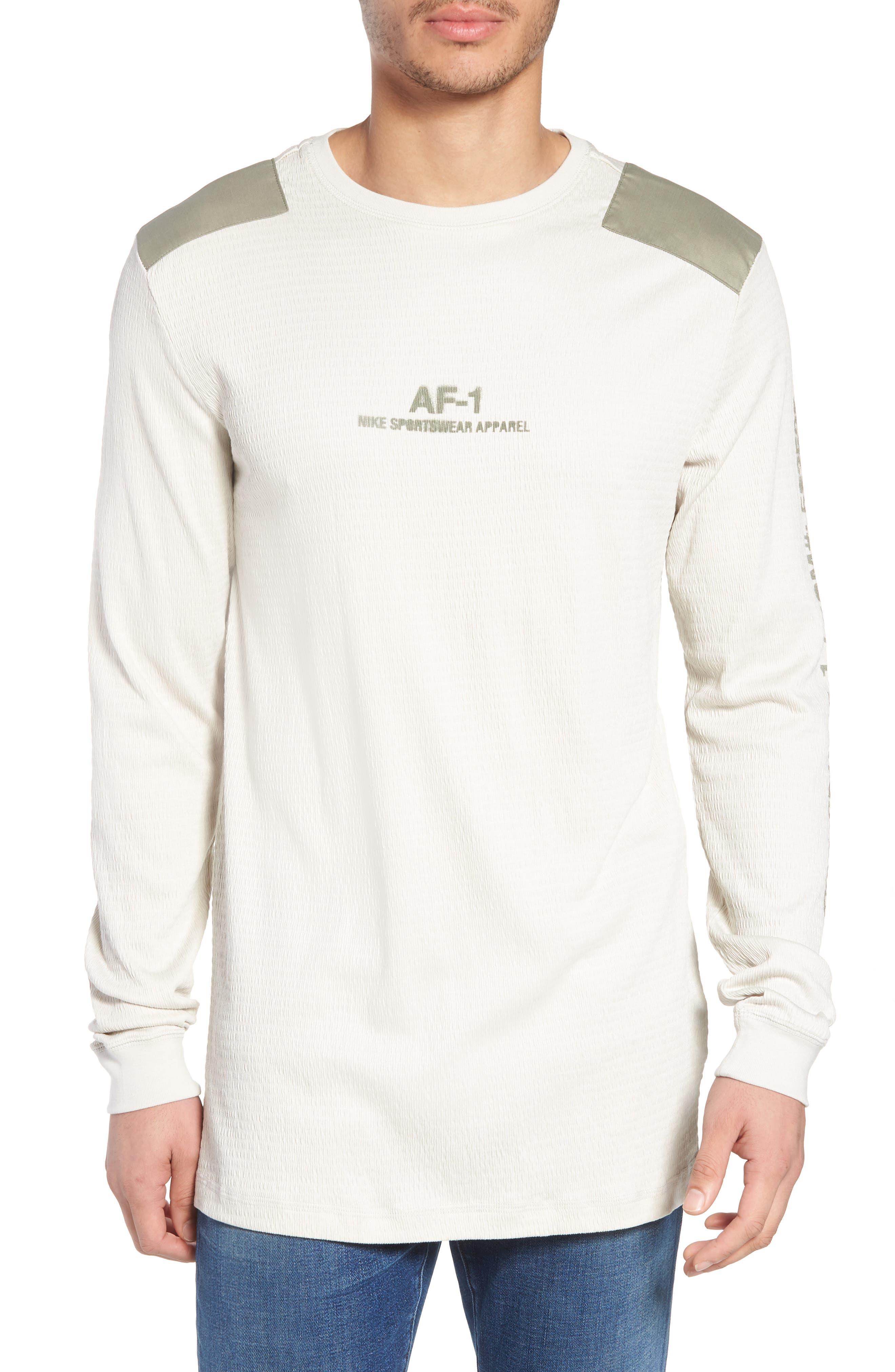 Sportswear AF-1 Long Sleeve Shirt,                             Main thumbnail 1, color,                             Light Bone/ Stucco/ Stucco