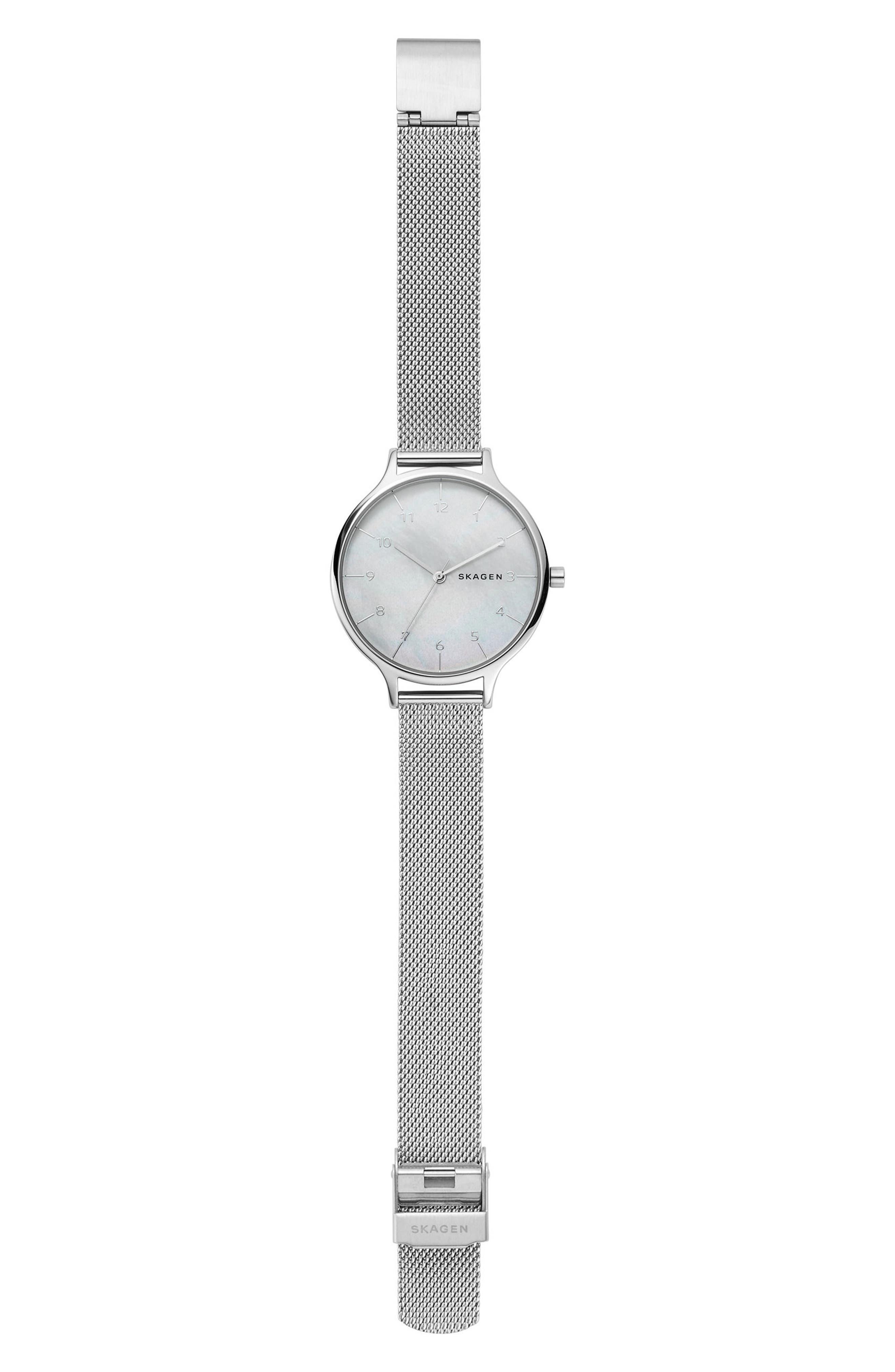 Anita Mesh Strap Watch, 36mm,                             Alternate thumbnail 3, color,                             Silver/ Mop/ Silver