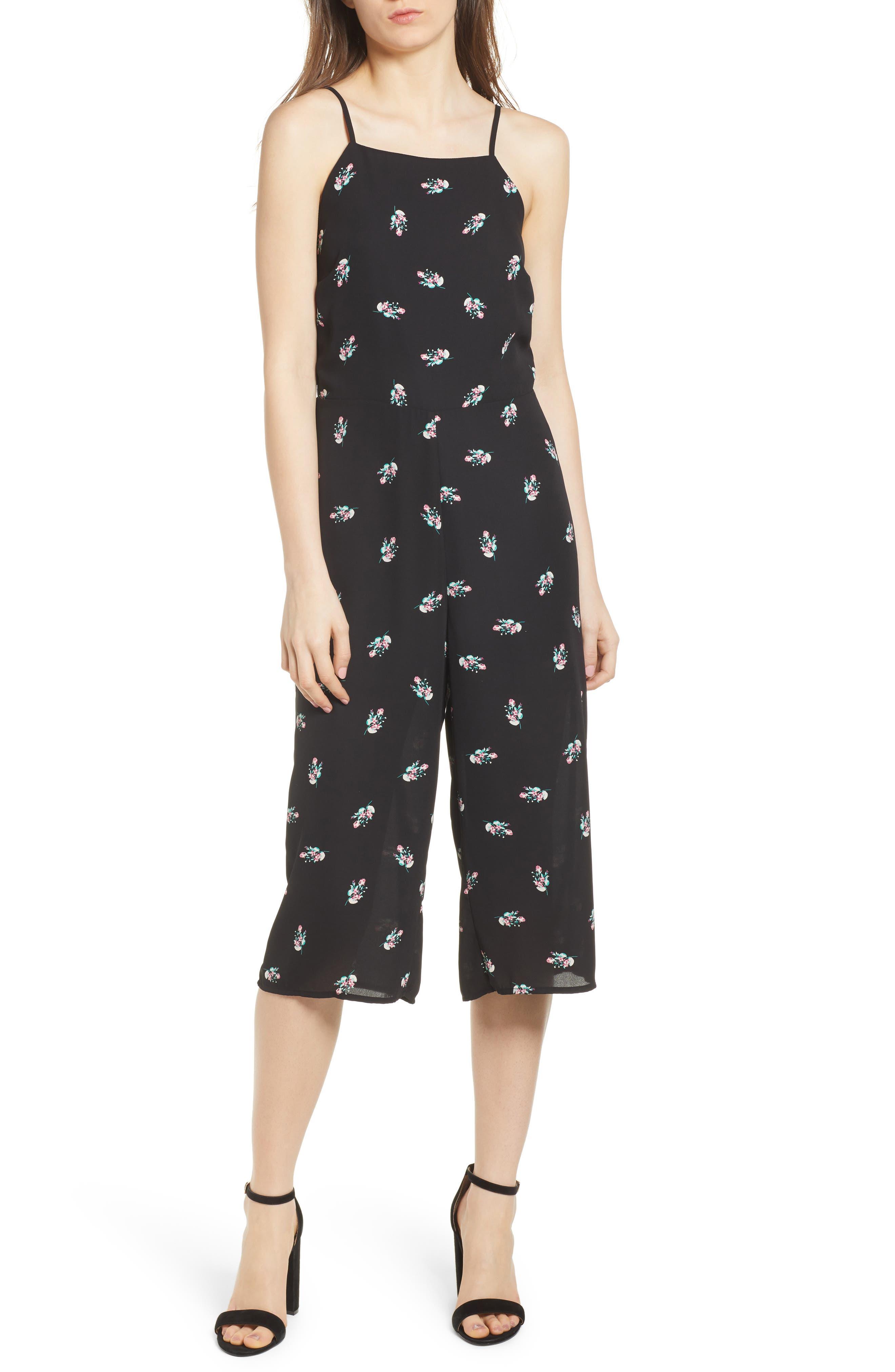 Culotte Jumpsuit,                         Main,                         color, Black Spring Floral