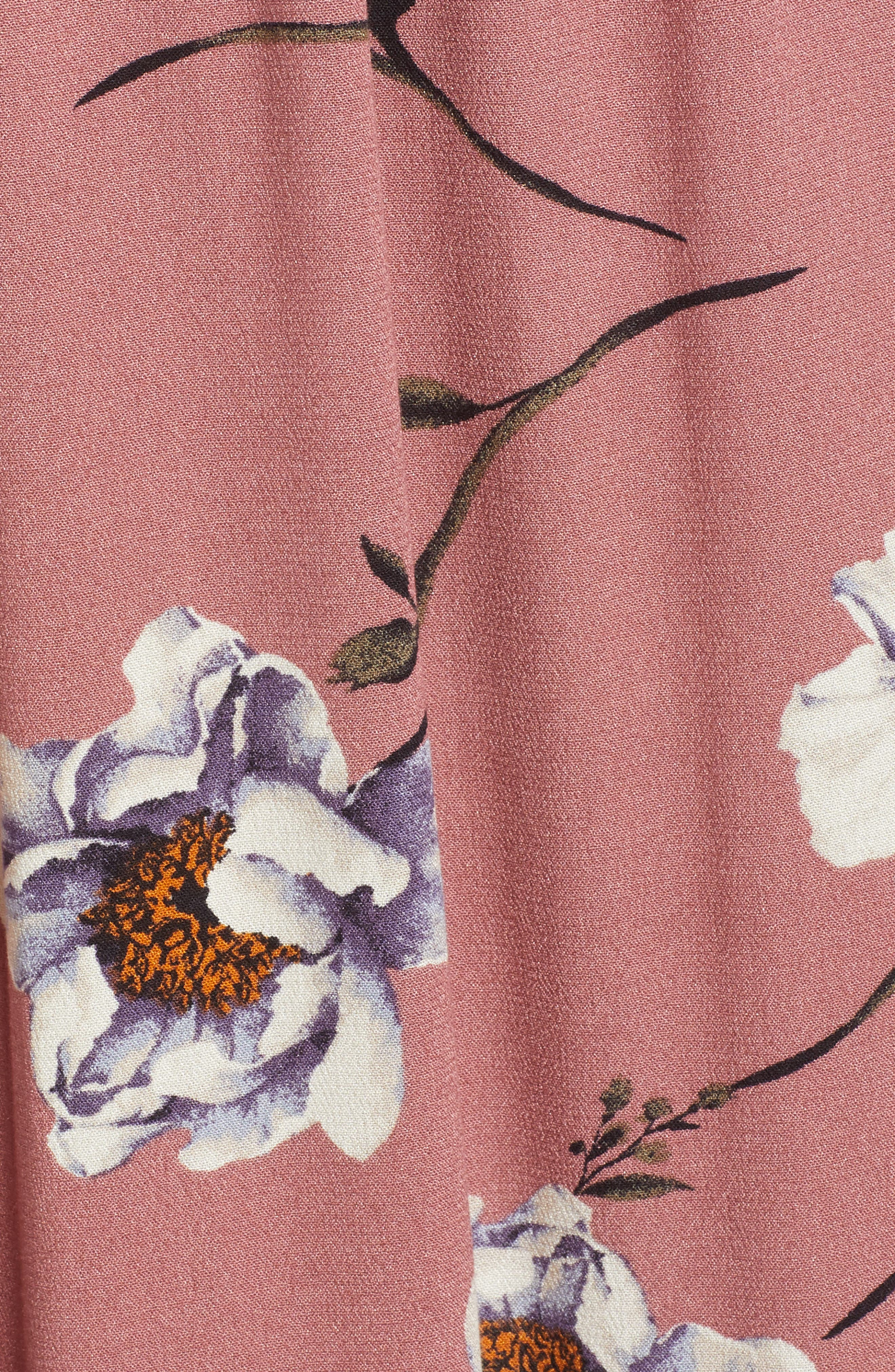 Off the Shoulder Maxi Dress,                             Alternate thumbnail 5, color,                             Mauve Floral