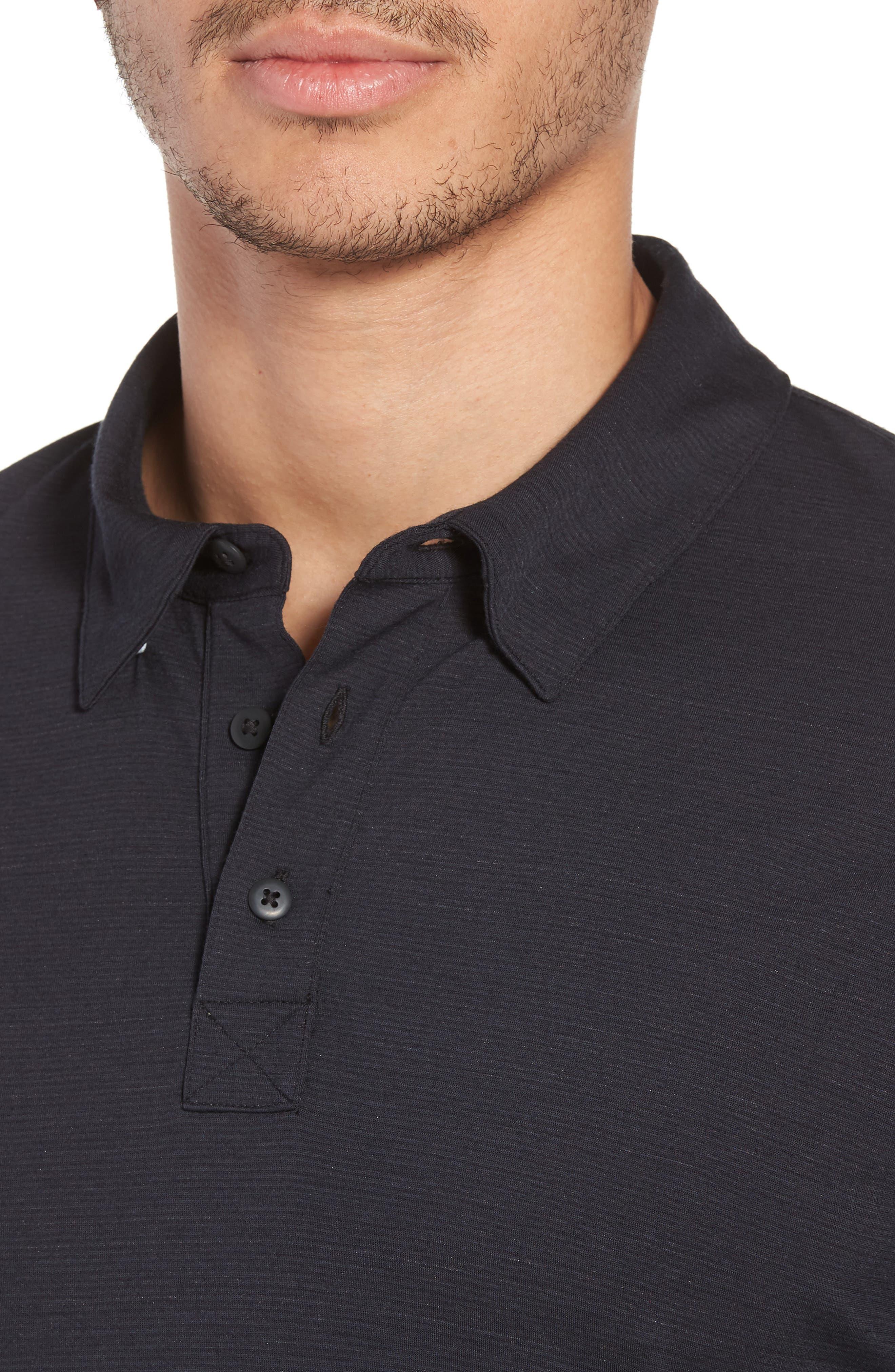 Merino 150 Wool Blend Polo Shirt,                             Alternate thumbnail 4, color,                             Charcoal
