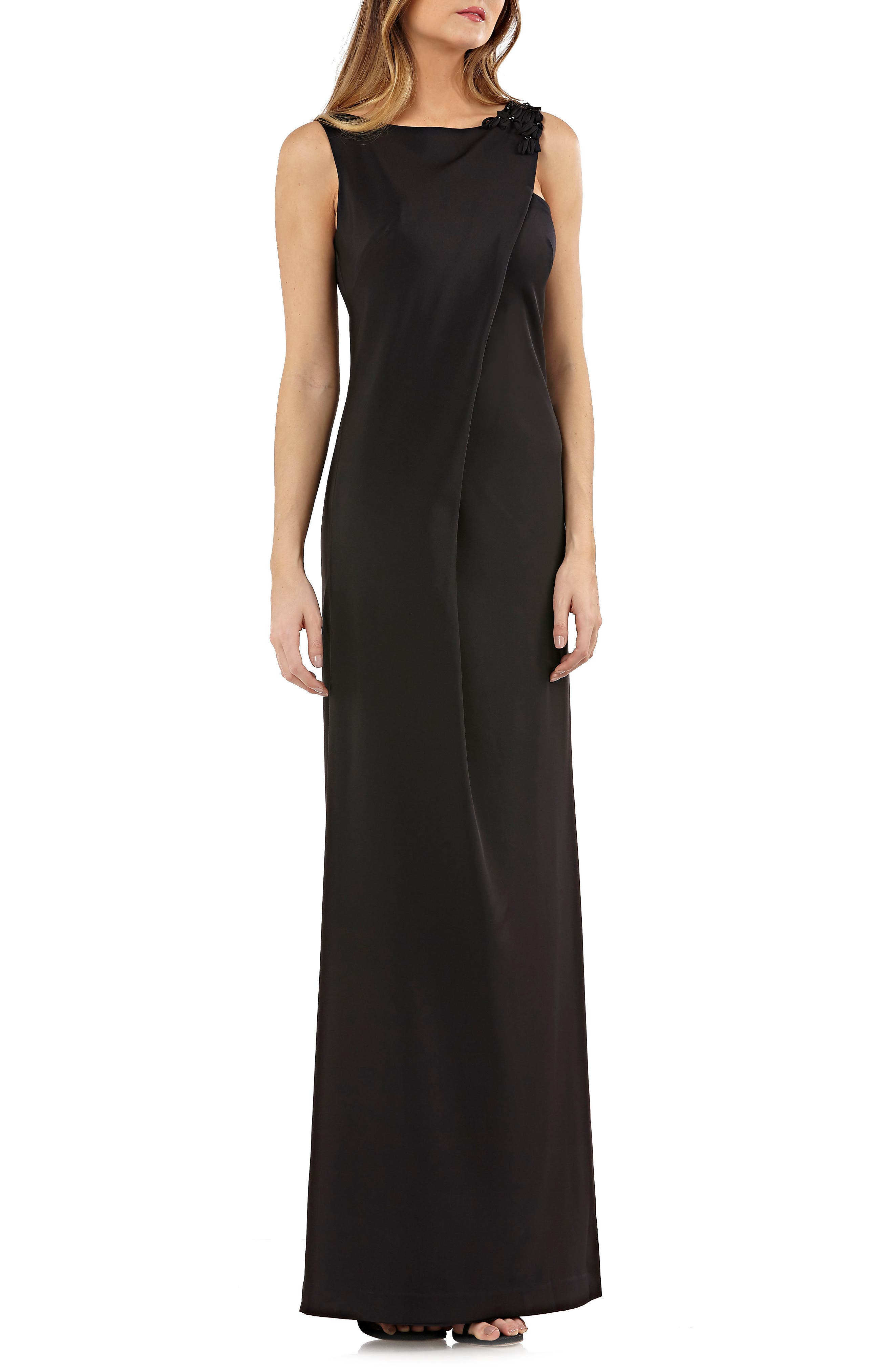 Sleeveless Stretch Crepe Gown,                             Main thumbnail 1, color,                             Black