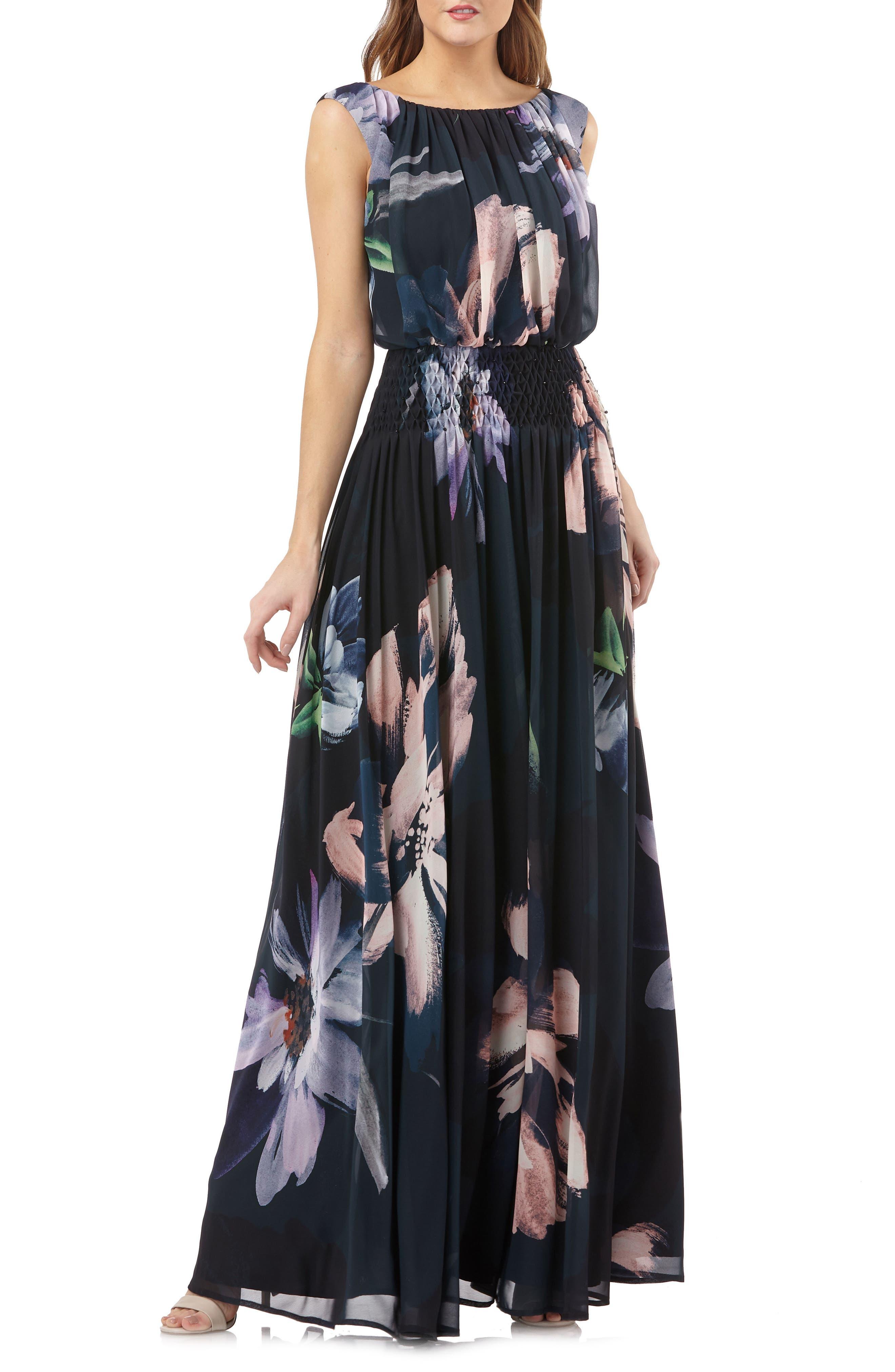 Floral Print Chiffon Gown,                             Main thumbnail 1, color,                             Black Multi