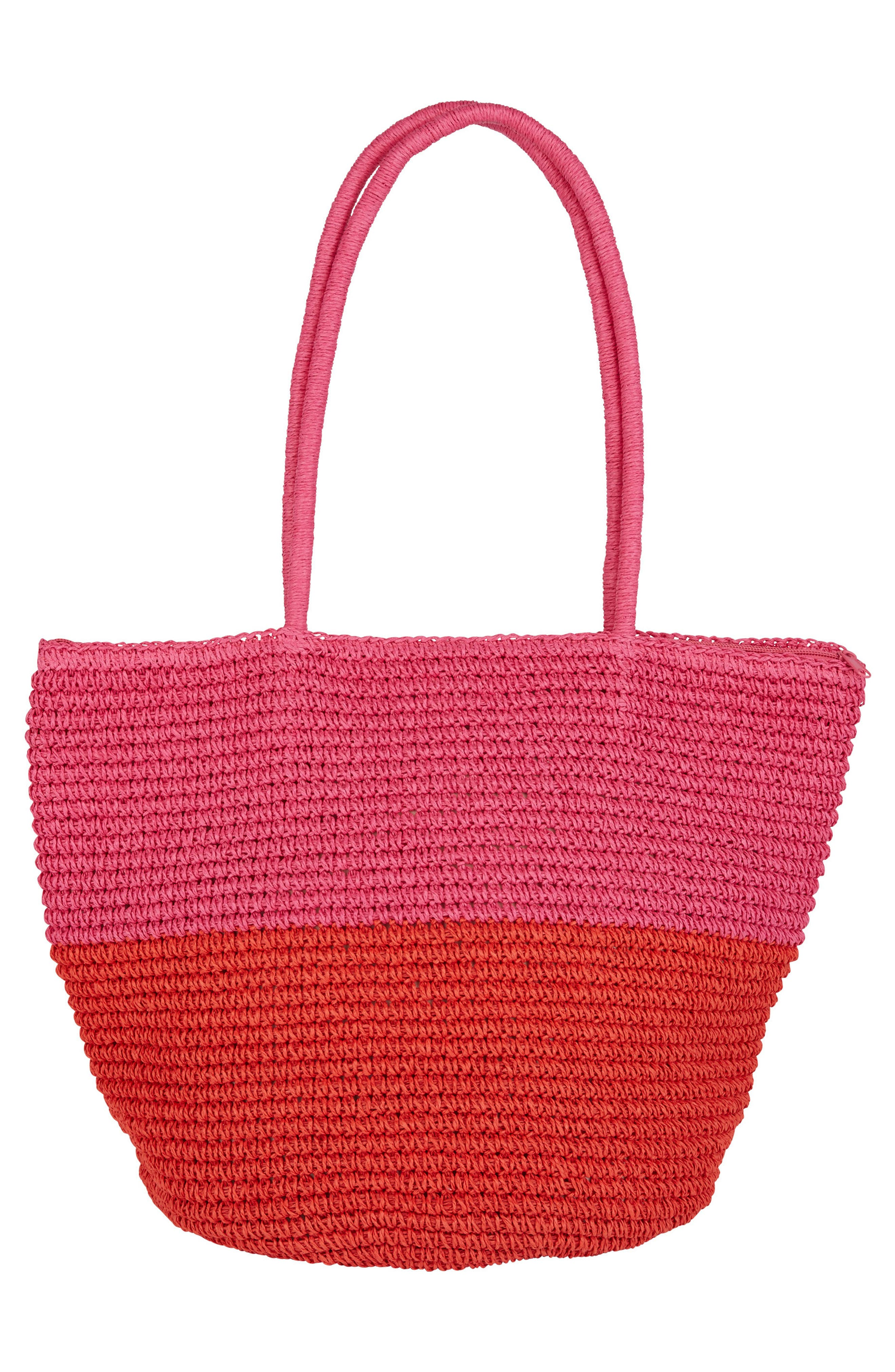 Heart N Soul Straw Tote,                             Alternate thumbnail 2, color,                             Guava