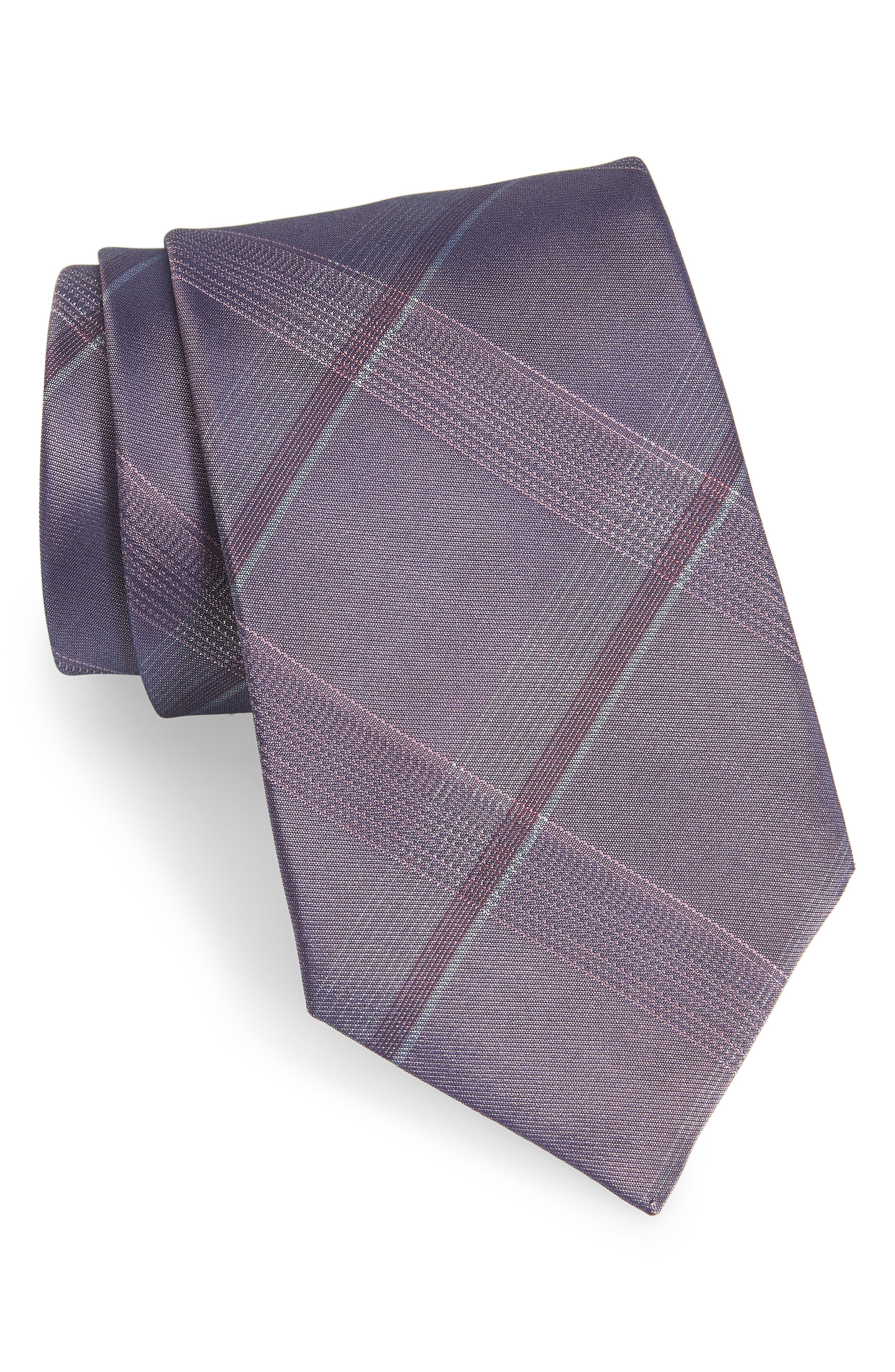 Plaid Silk Tie,                         Main,                         color, Purple