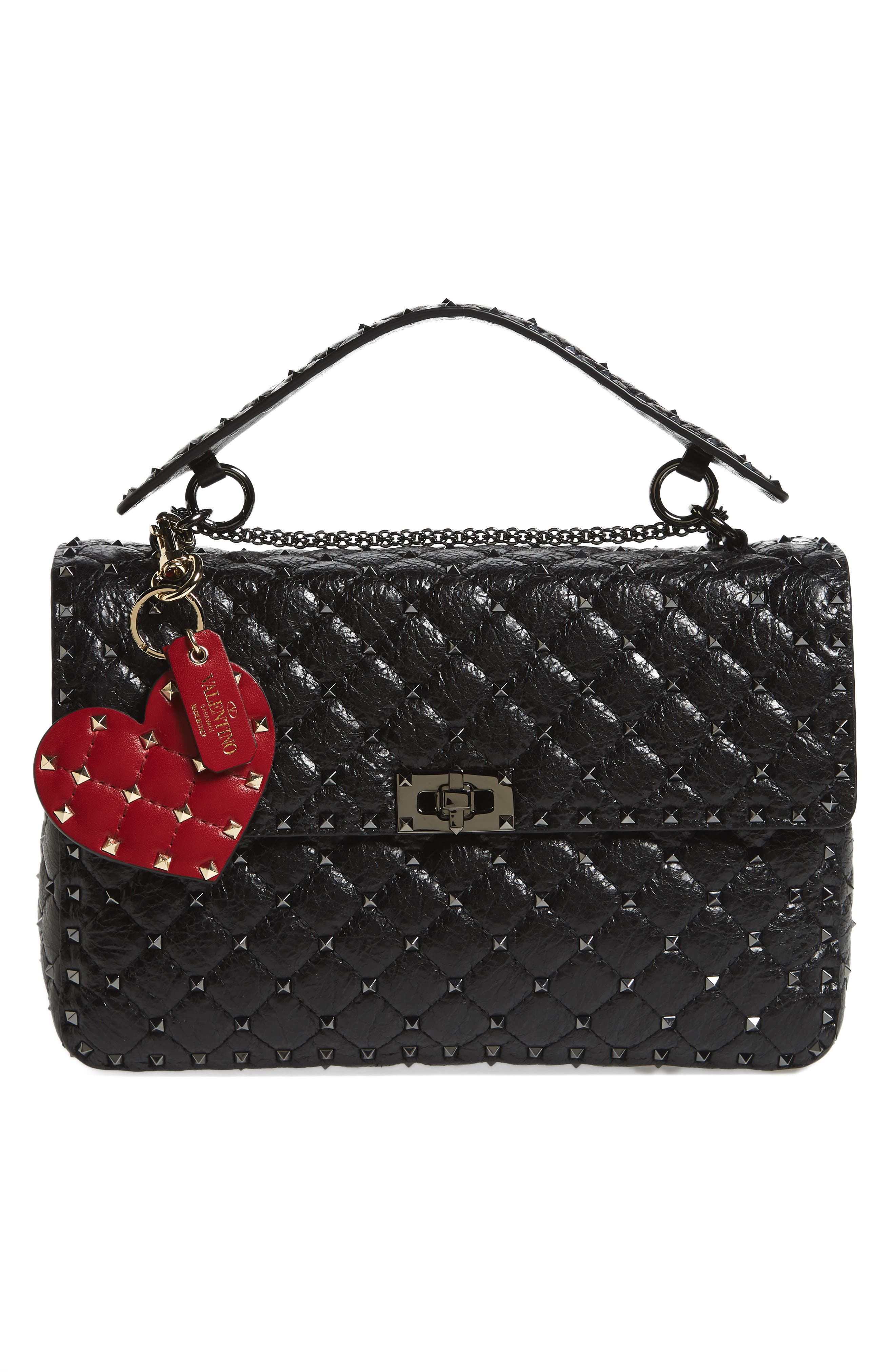 Rockstud Spike Leather Heart Bag Charm,                             Alternate thumbnail 2, color,                             Rosso