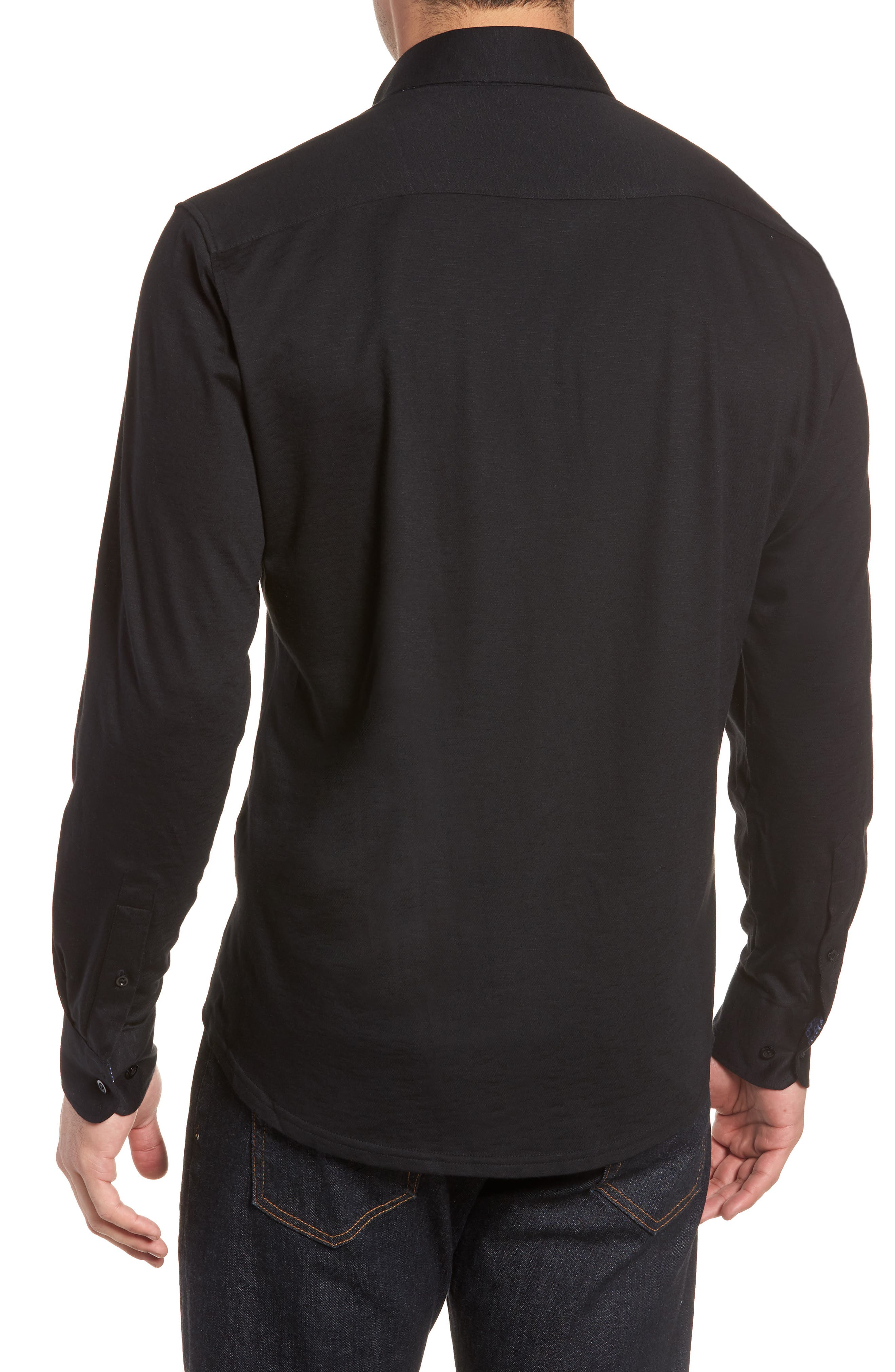 Flame Contemporary Fit Sport Shirt,                             Alternate thumbnail 2, color,                             Black