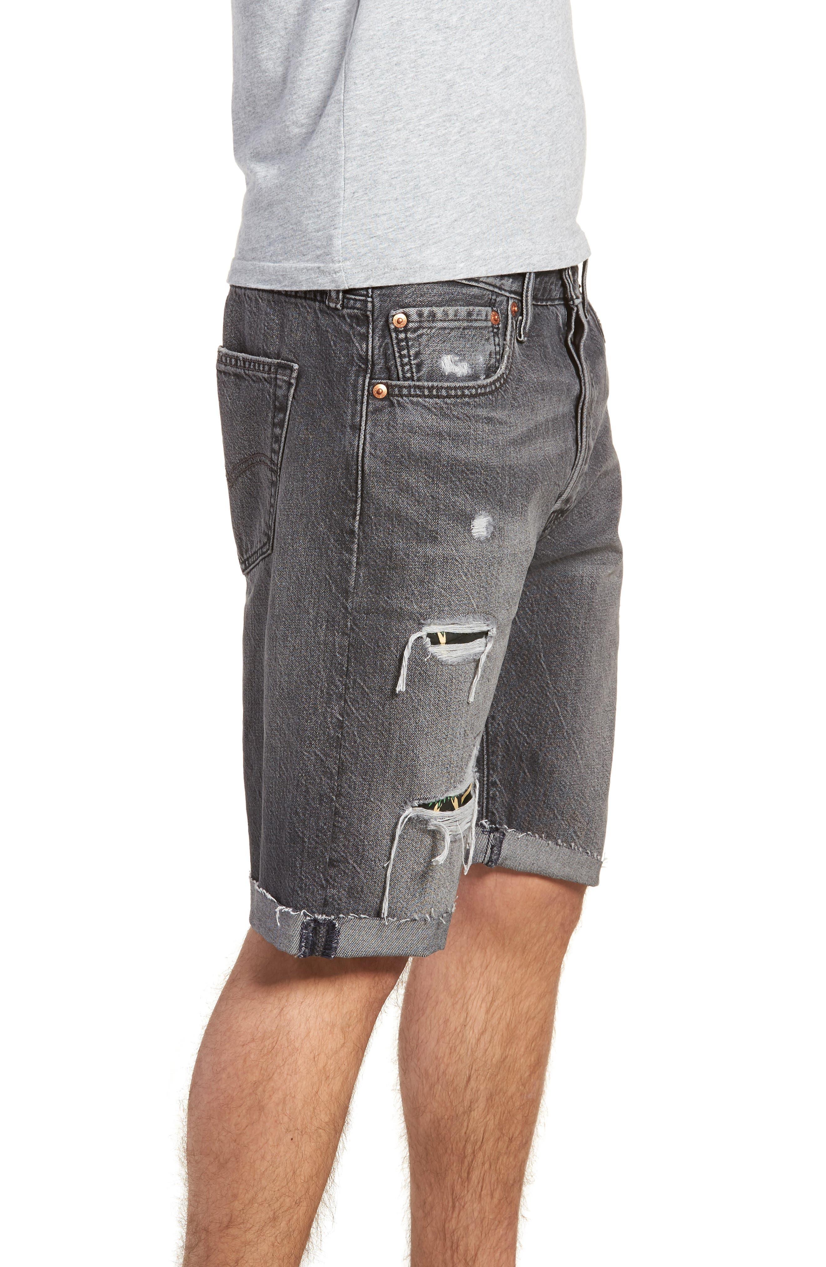 501<sup>®</sup> Cutoff Denim Shorts,                             Alternate thumbnail 3, color,                             Black Hawaii
