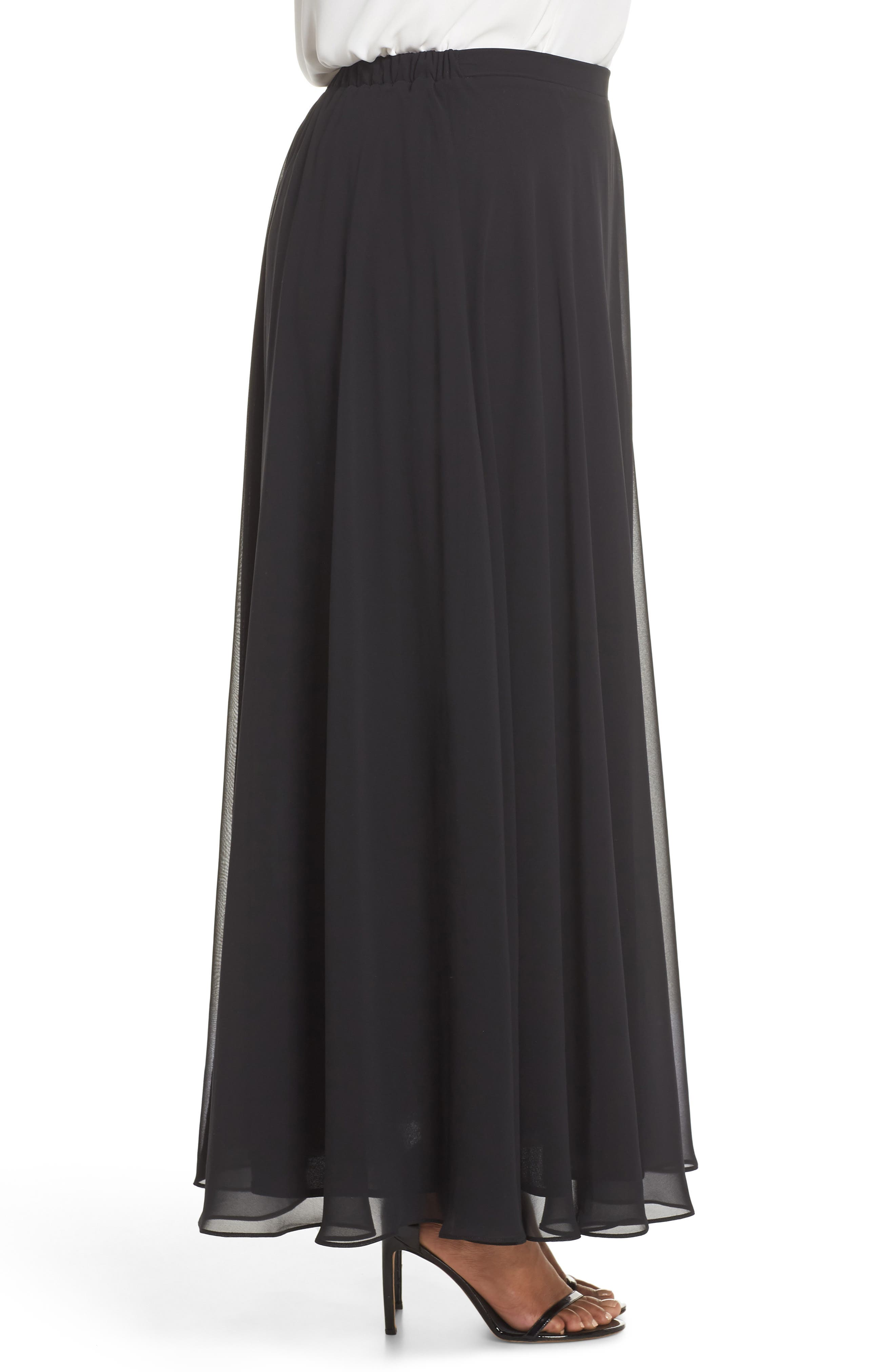 Long Circle Skirt,                             Alternate thumbnail 3, color,                             Black